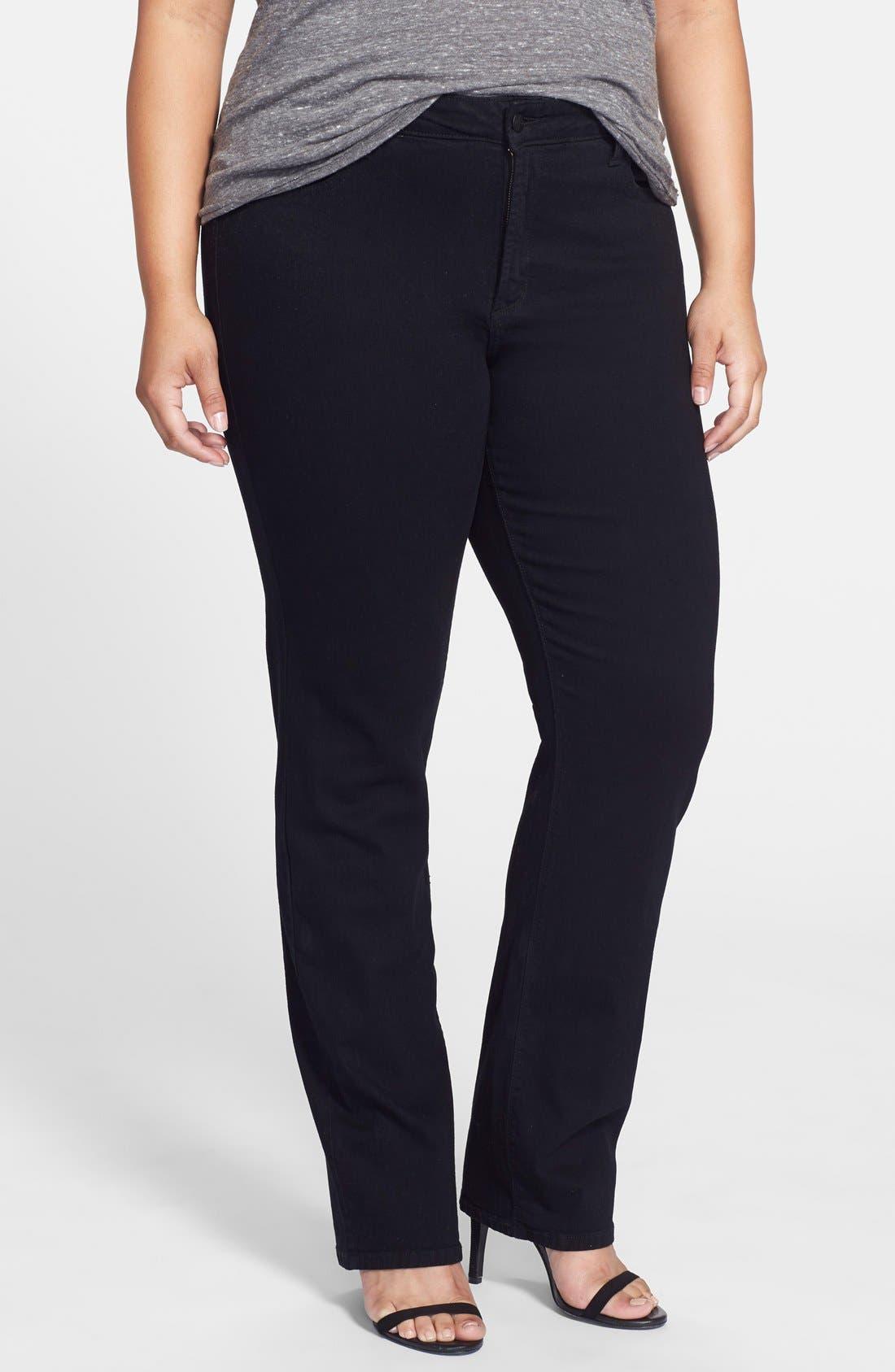 Alternate Image 1 Selected - NYDJ 'Marilyn' Stretch Straight Leg Jeans (Black) (Plus Size)