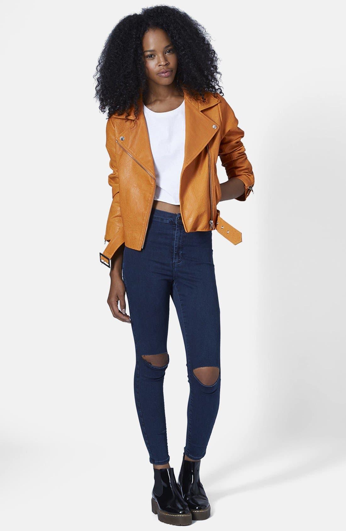 Alternate Image 5  - Topshop Moto 'Joni' Ripped High Rise Skinny Jeans (Blue) (Petite)
