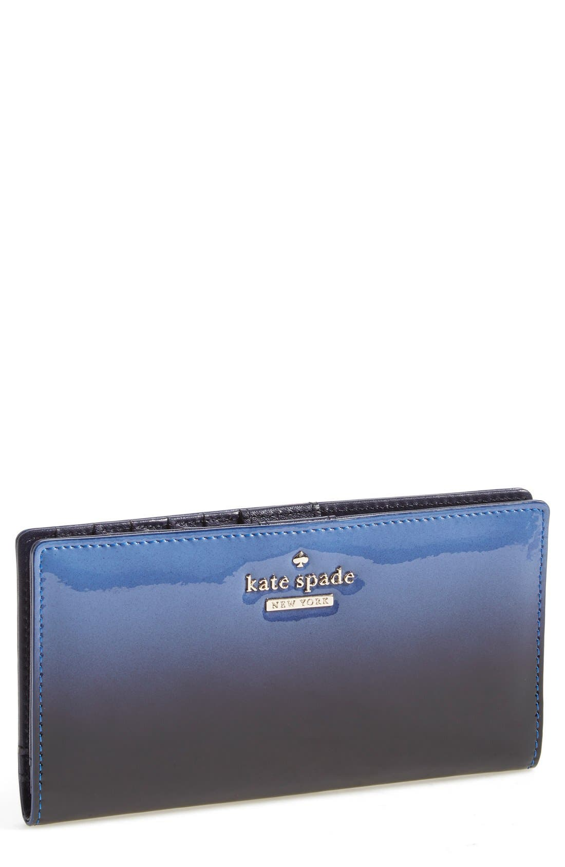 Alternate Image 1 Selected - kate spade new york 'cedar street - ombré patent stacy' leather clutch wallet
