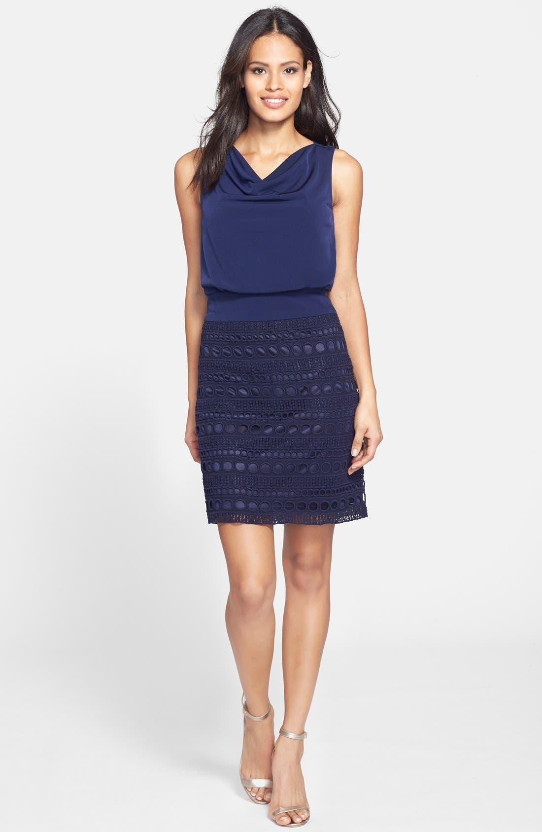 Alternate Image 3  - Laundry by Shelli Segal Jersey & Lace Blouson Dress
