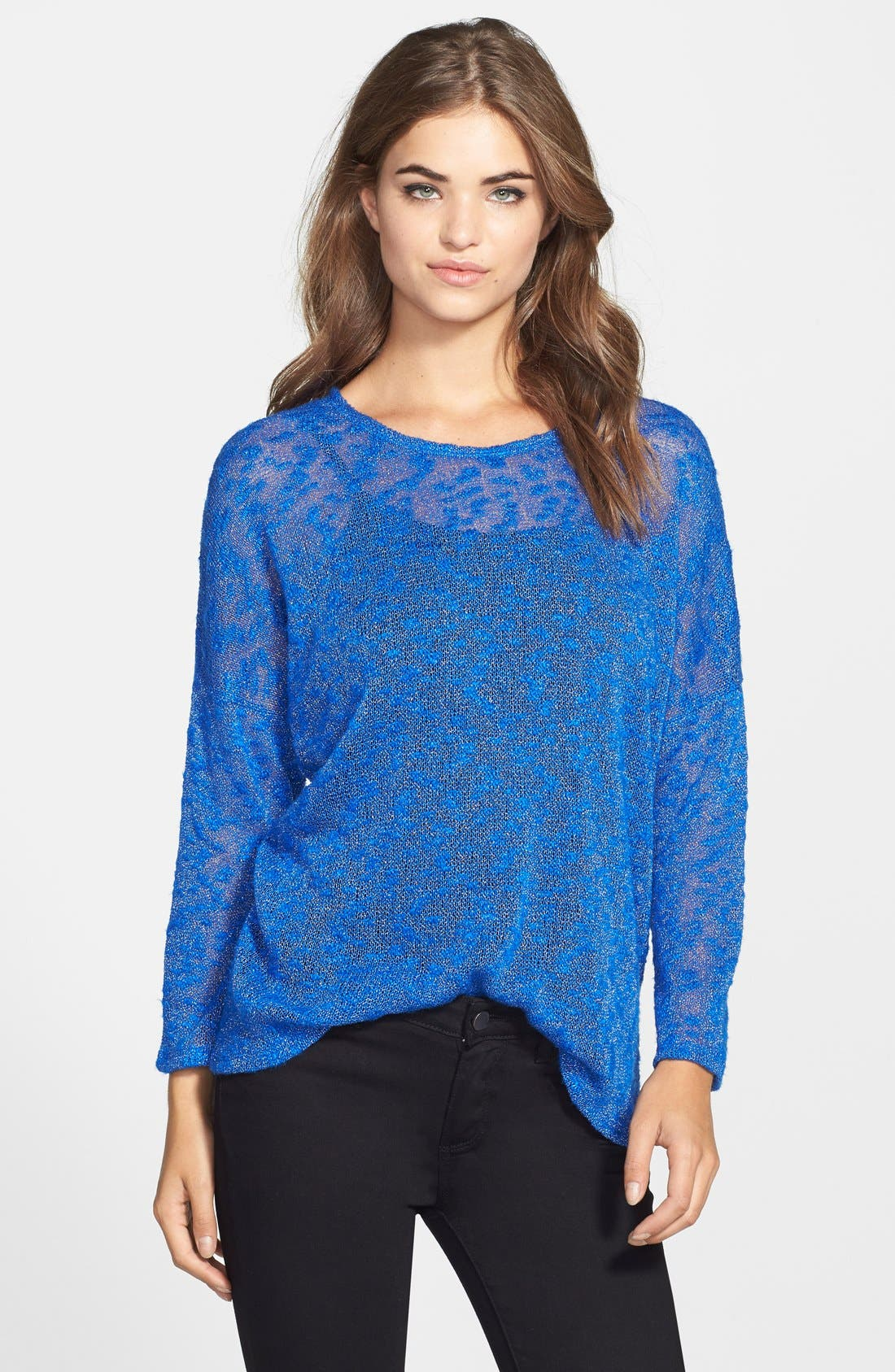 Silver Shimmer Mélange Pullover,                             Main thumbnail 1, color,                             Bright Blue