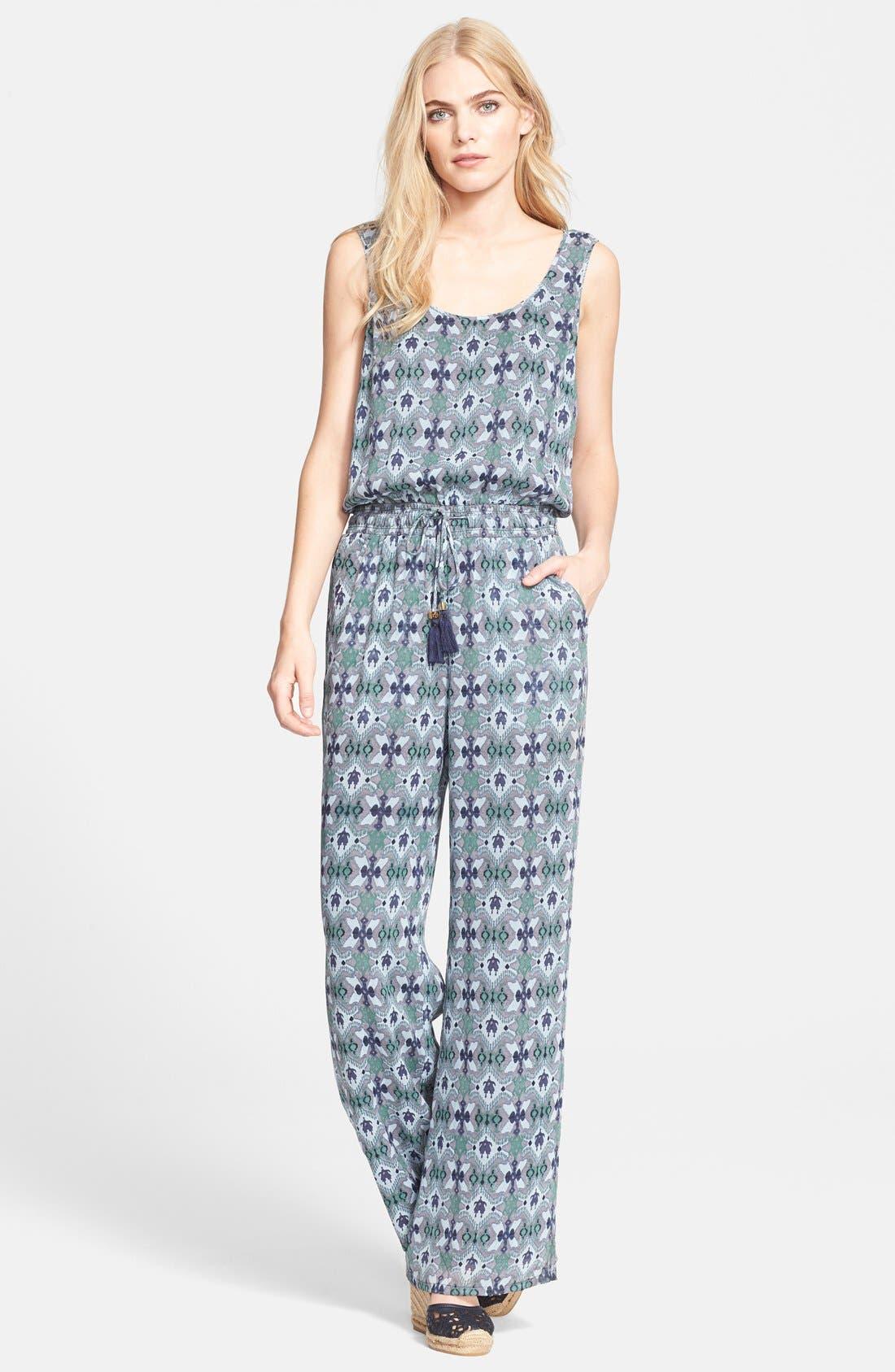 Alternate Image 1 Selected - Tory Burch 'Laguna' Print Silk Jumpsuit