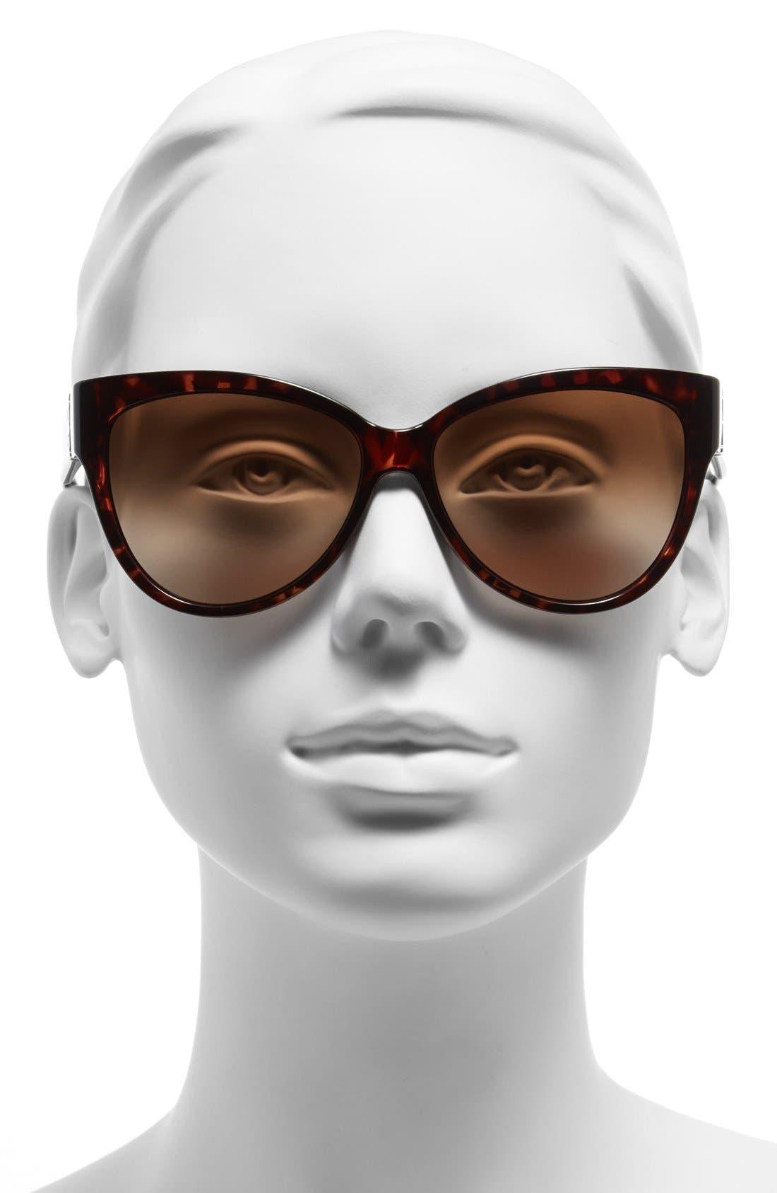 59mm Cat Eye Sunglasses,                             Alternate thumbnail 2, color,                             Tortoise
