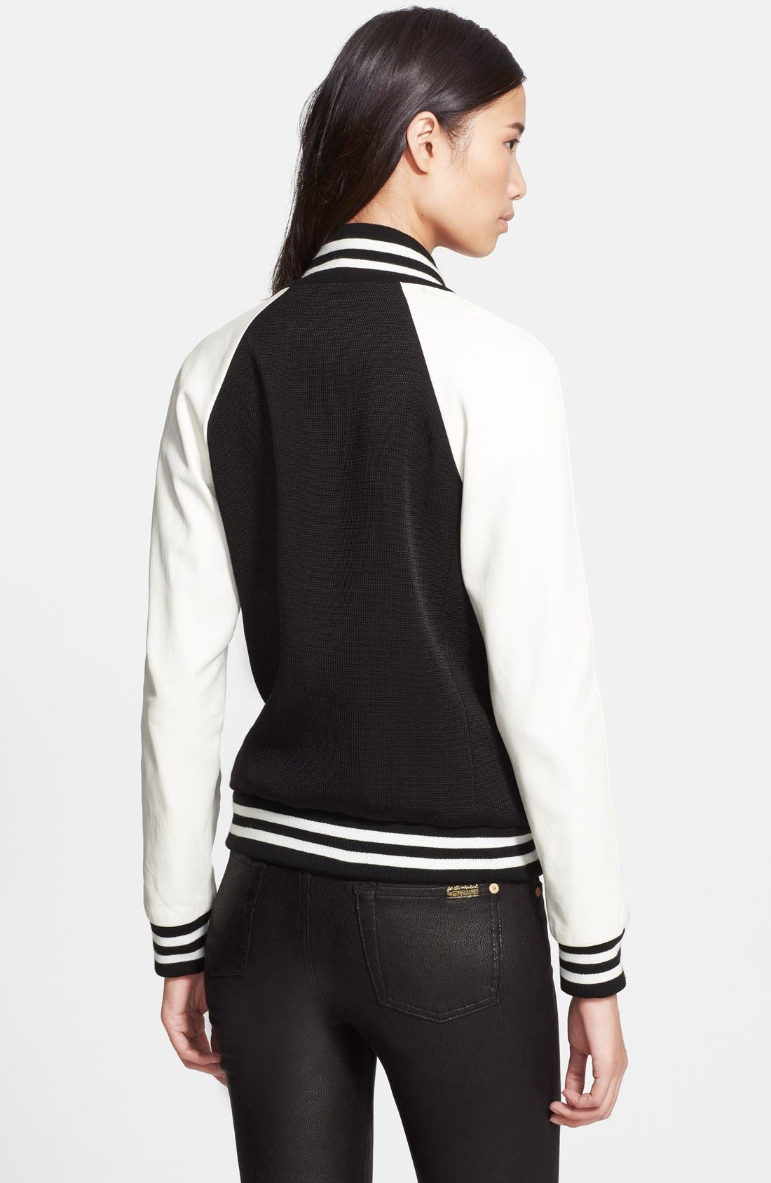 Alternate Image 2  - Veronica Beard Leather Sleeve Varsity Jacket