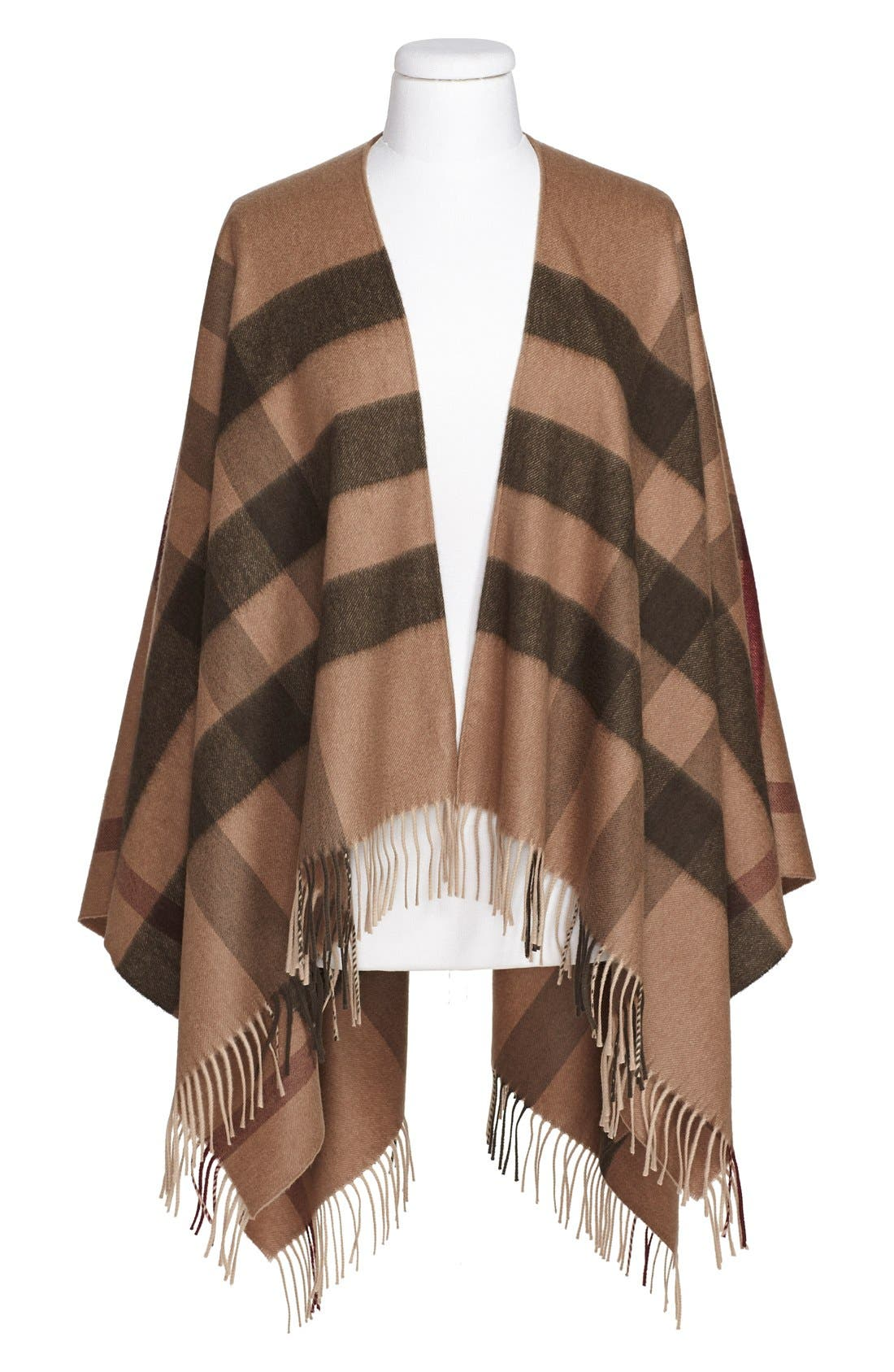 Alternate Image 4  - Burberry Check Print Wool & Cashmere Cape