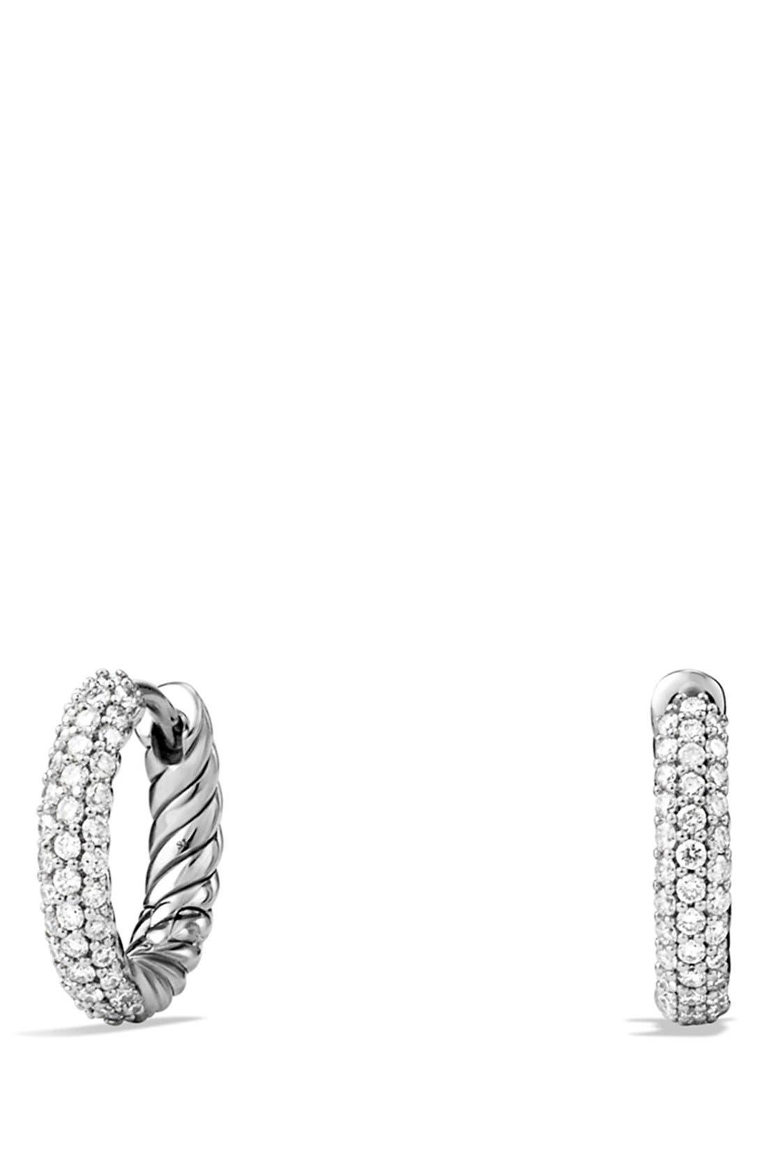 Petite Pavé Earrings with Diamonds,                             Main thumbnail 1, color,                             Diamond