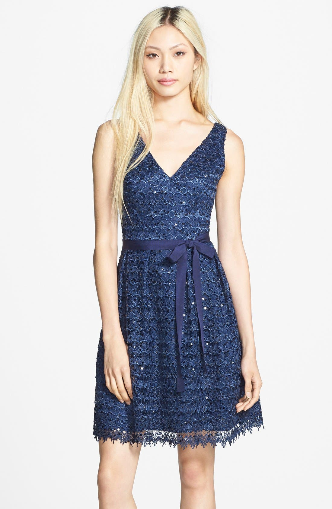 Main Image - Hailey by Adrianna Papell Sequin Lace Fit & Flare Dress