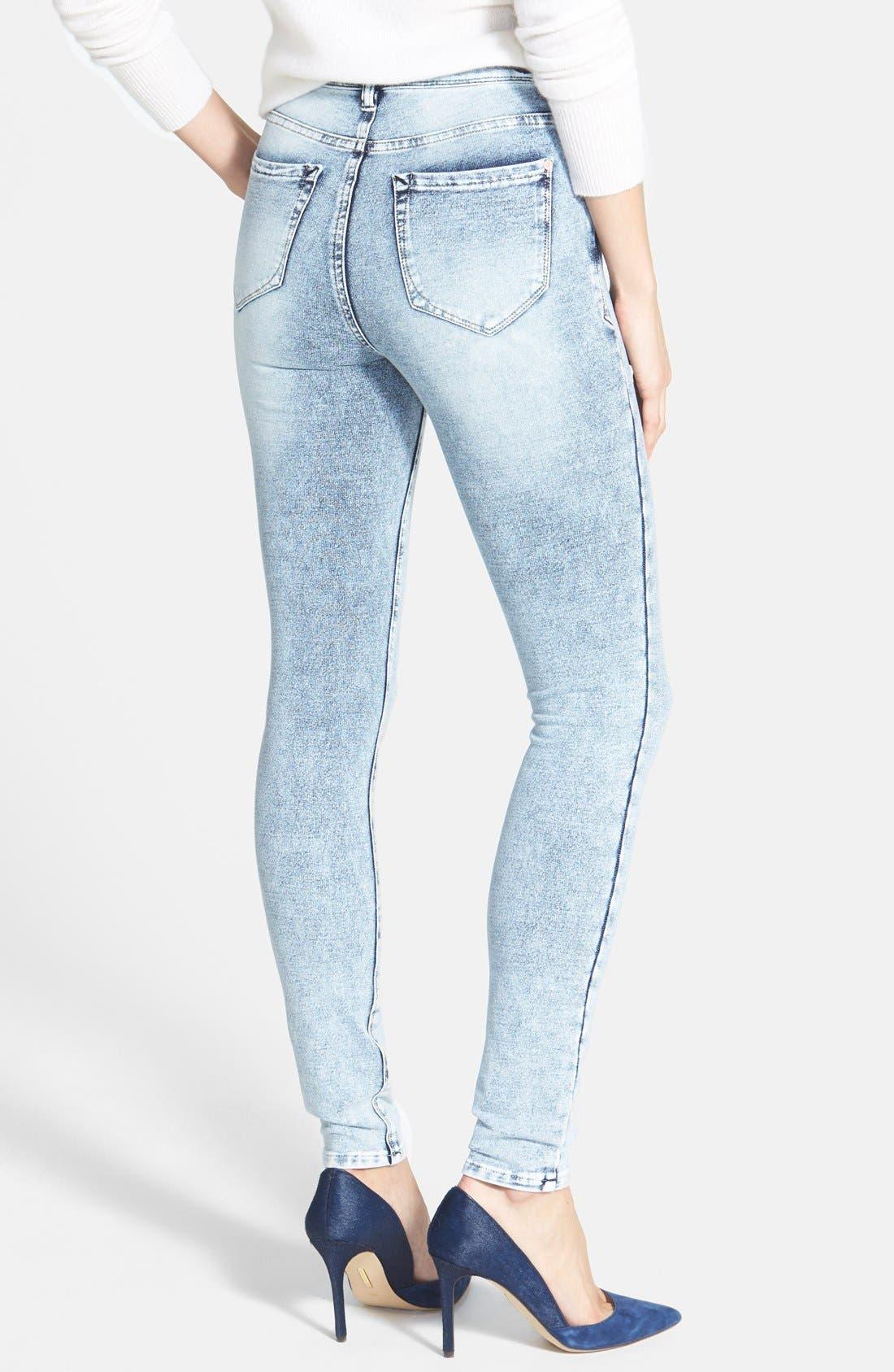 Alternate Image 2  - kensie 'Ankle Biter' Acid Wash French Terry Skinny Jeans (Grey Acid)