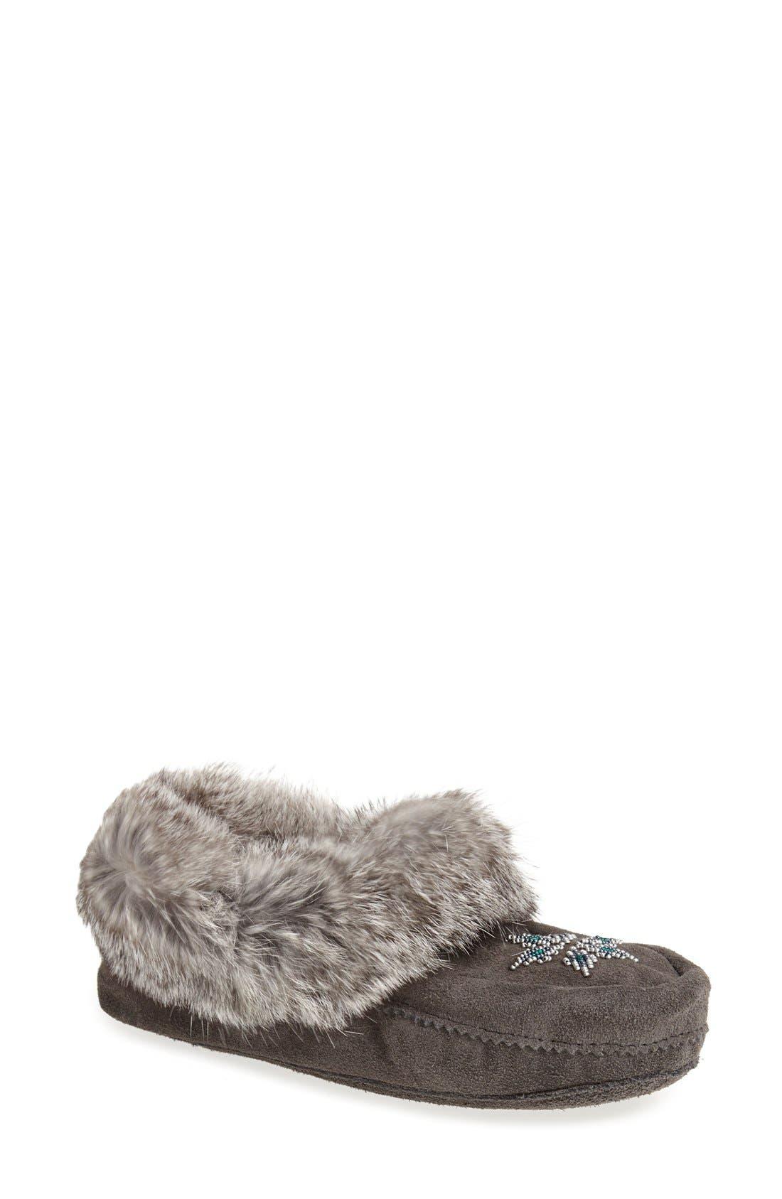 Manitobah Mukluks 'Kanada' Genuine Rabbit Fur & Suede Moccasin Slipper (Women)
