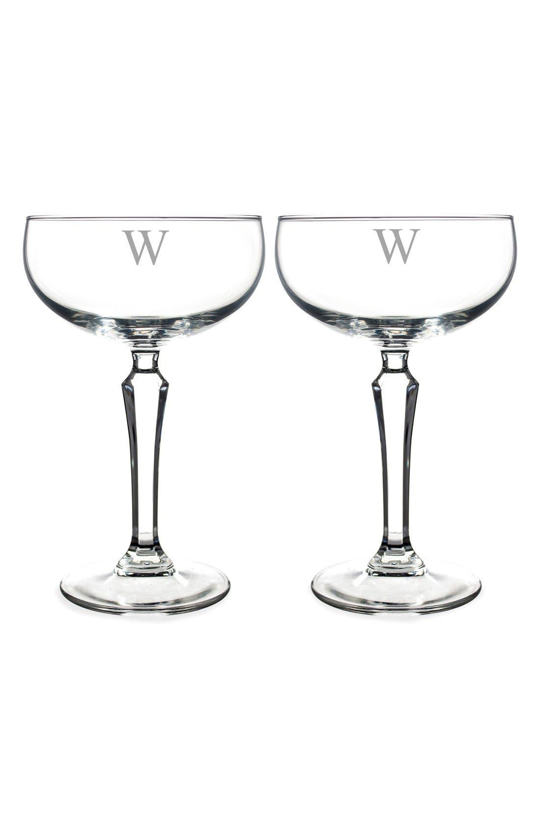 Monogram Coupe Cocktail/Champagne Glasses,                             Alternate thumbnail 2, color,                             W