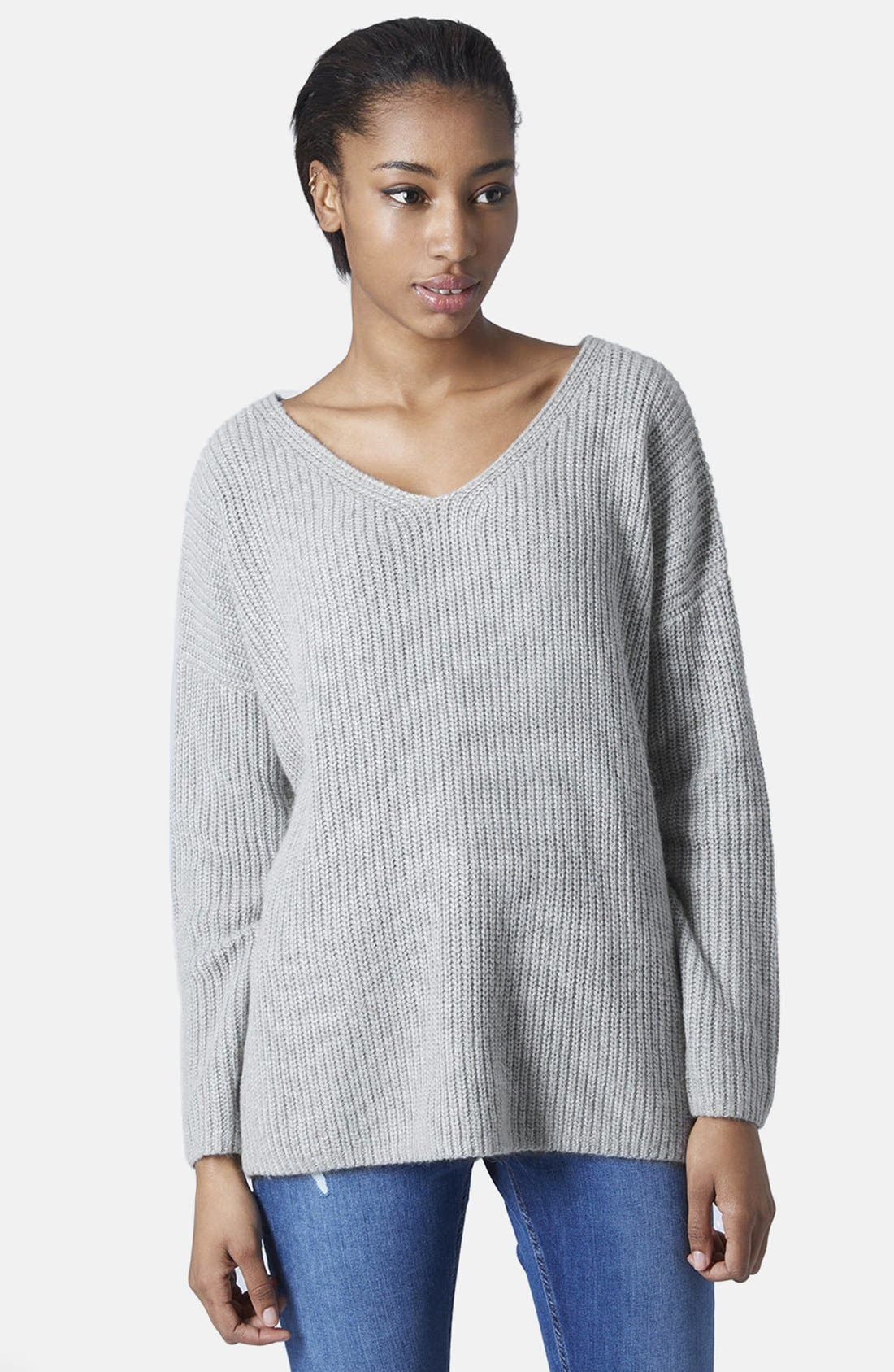 Alternate Image 1 Selected - Topshop Double V-Neck Rib Sweater
