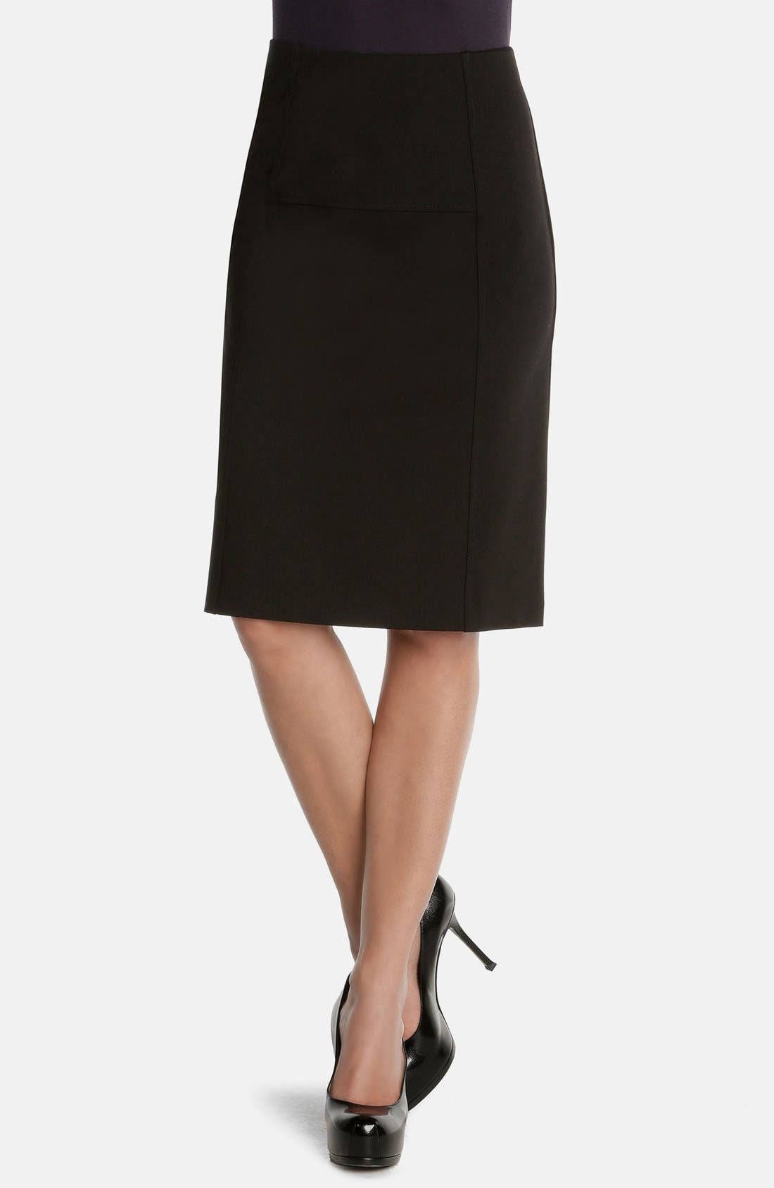 'New Flirt' Ponte Knit Skirt,                         Main,                         color, Black Onyx