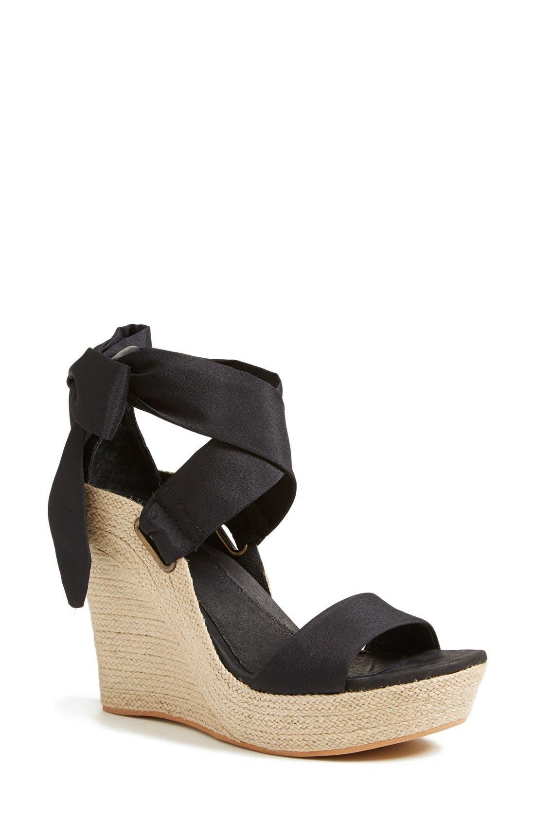 'Jules' Platform Wedge Sandal,                         Main,                         color, Black
