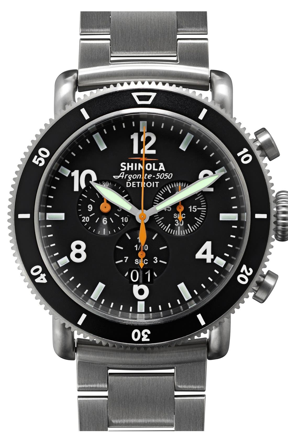 Alternate Image 1 Selected - Shinola 'The Black Blizzard' Chronograph Interchangeable Strap Watch, 48mm (Limited Edition)