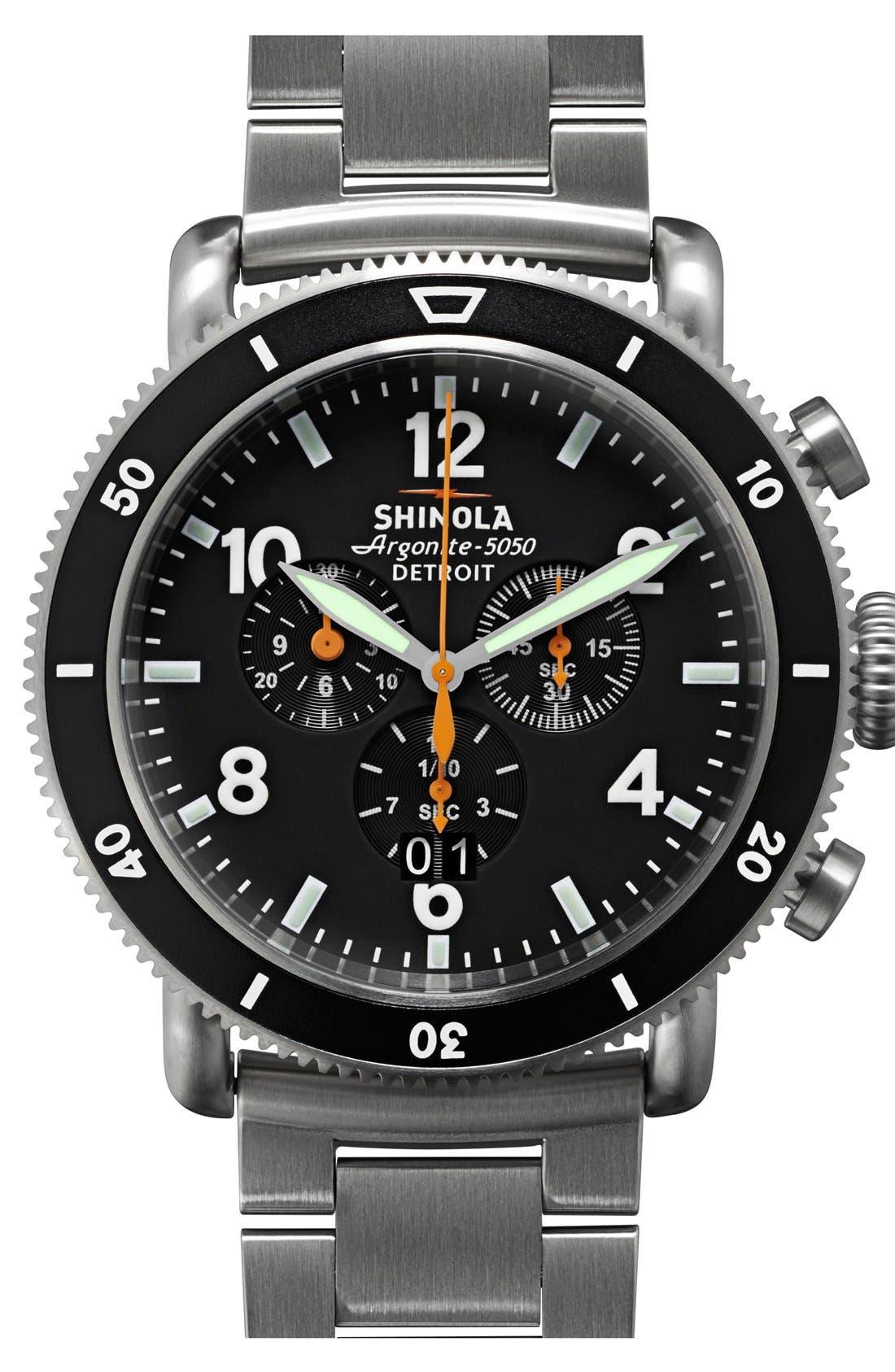 'The Black Blizzard' Chronograph Interchangeable Strap Watch, 48mm,                         Main,                         color, Silver/ Black
