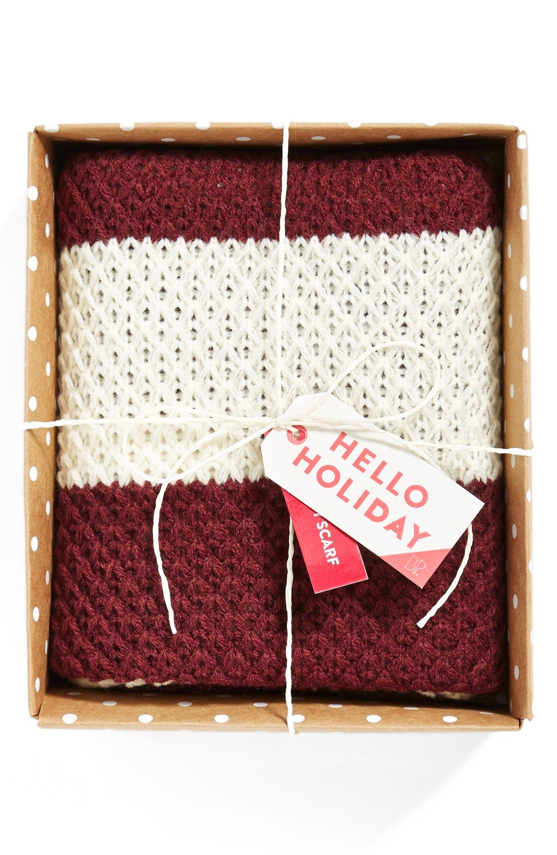 Stripe Infinity Scarf,                             Main thumbnail 1, color,                             Oxblood/ Ivory