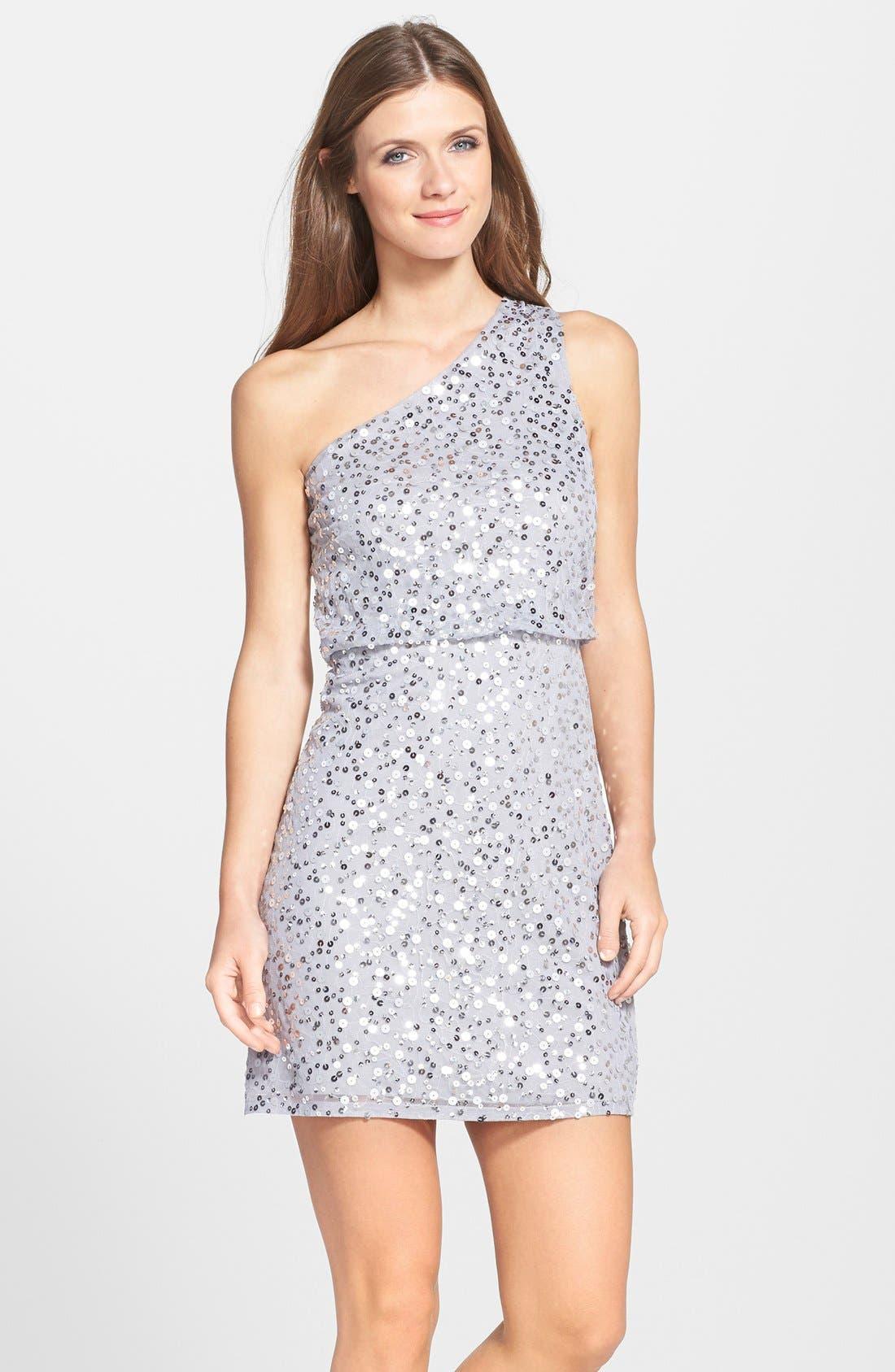 Alternate Image 3  - JS Boutique One Shoulder Sequin Blouson Dress