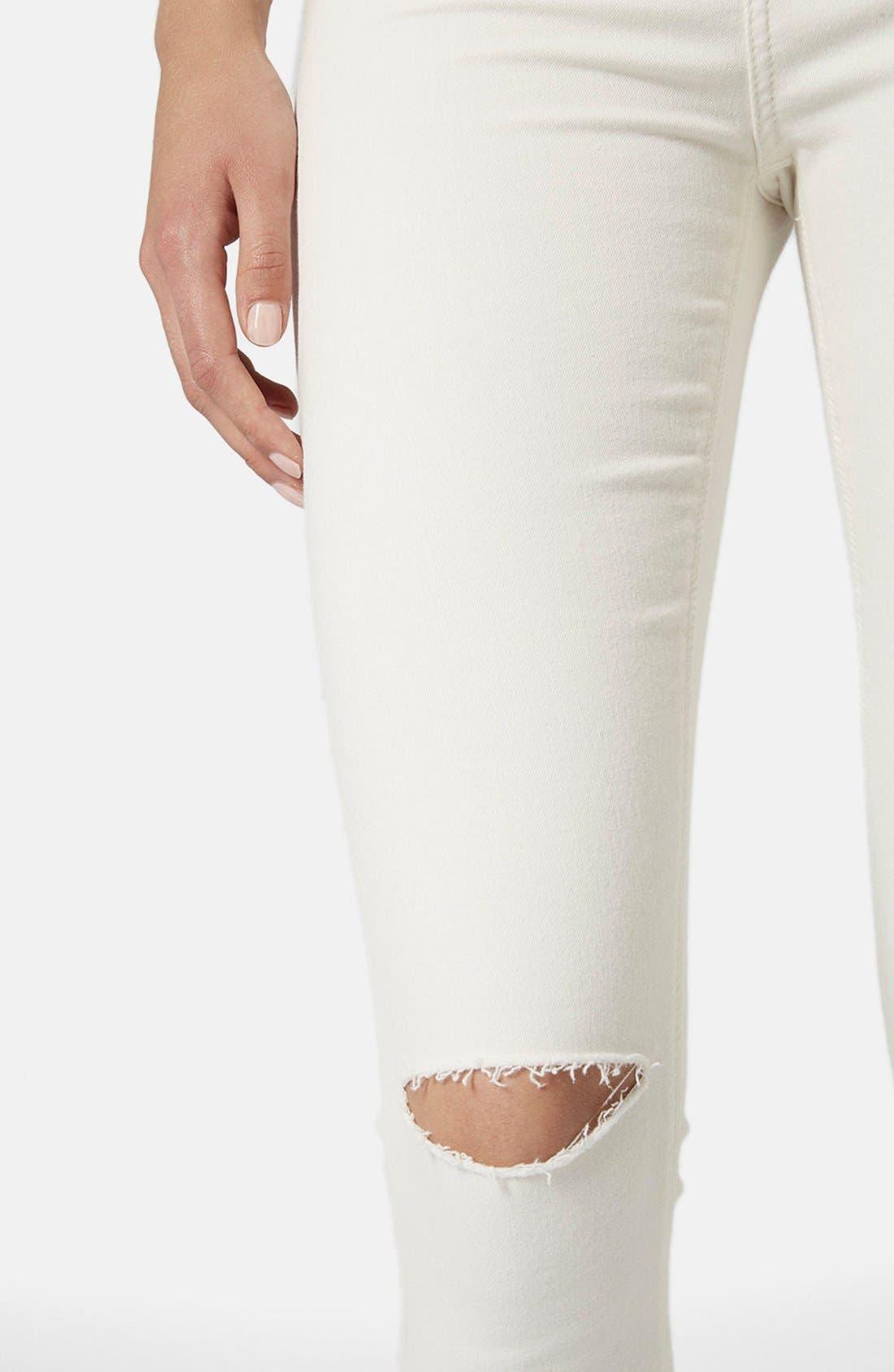 Alternate Image 4  - Topshop Moto 'Jamie' Ripped Jeans (White)