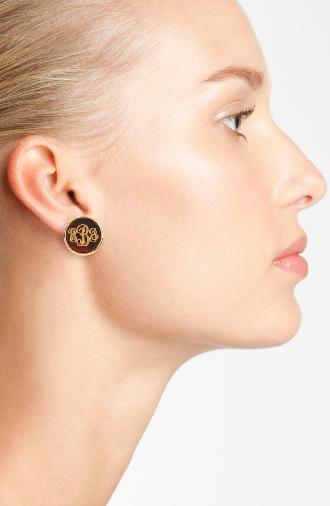 'Vineyard' Personalized Monogram Stud Earrings,                             Alternate thumbnail 2, color,                             Tortoise