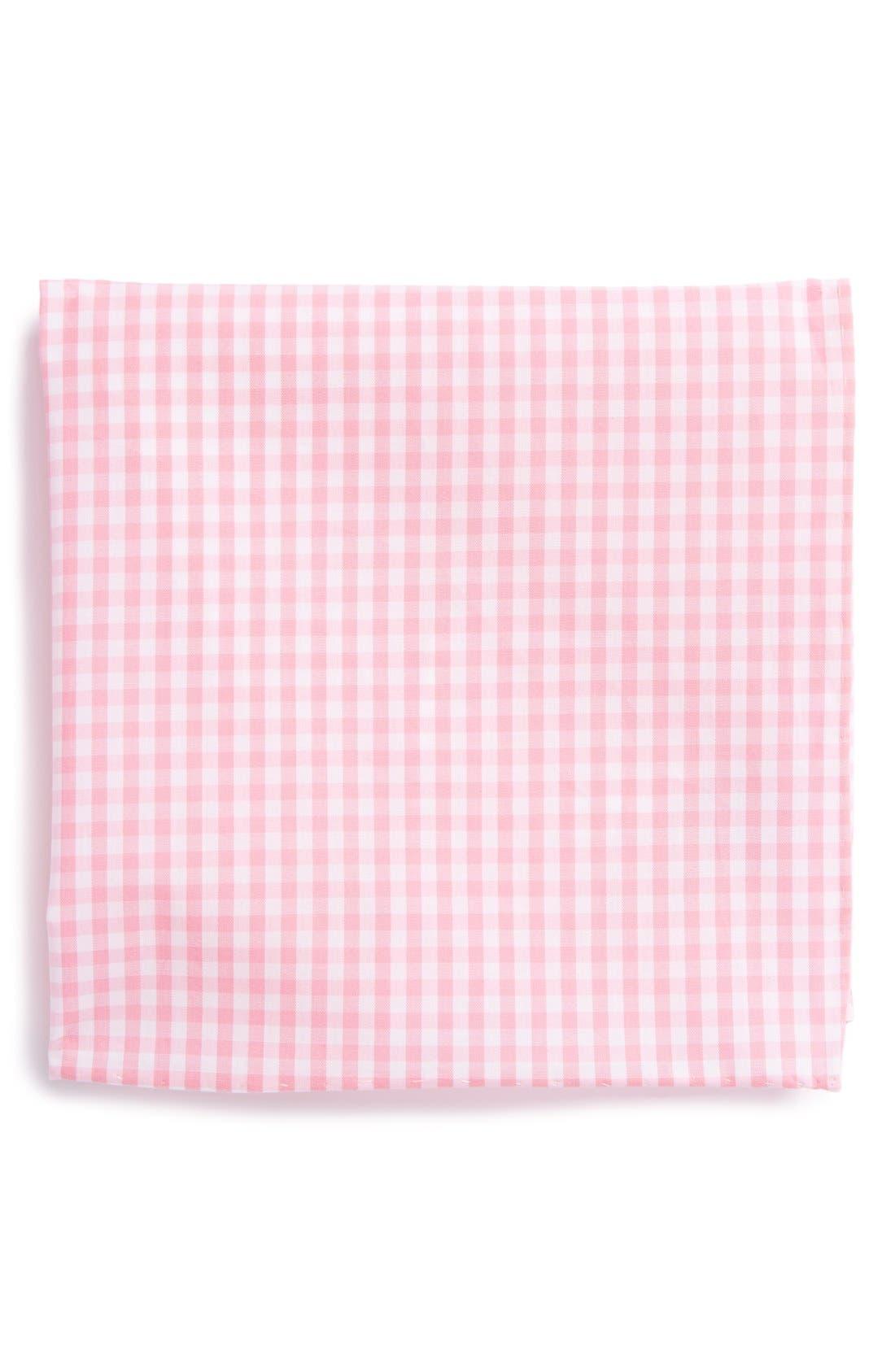 Cotton Gingham Pocket Square,                         Main,                         color, Pink