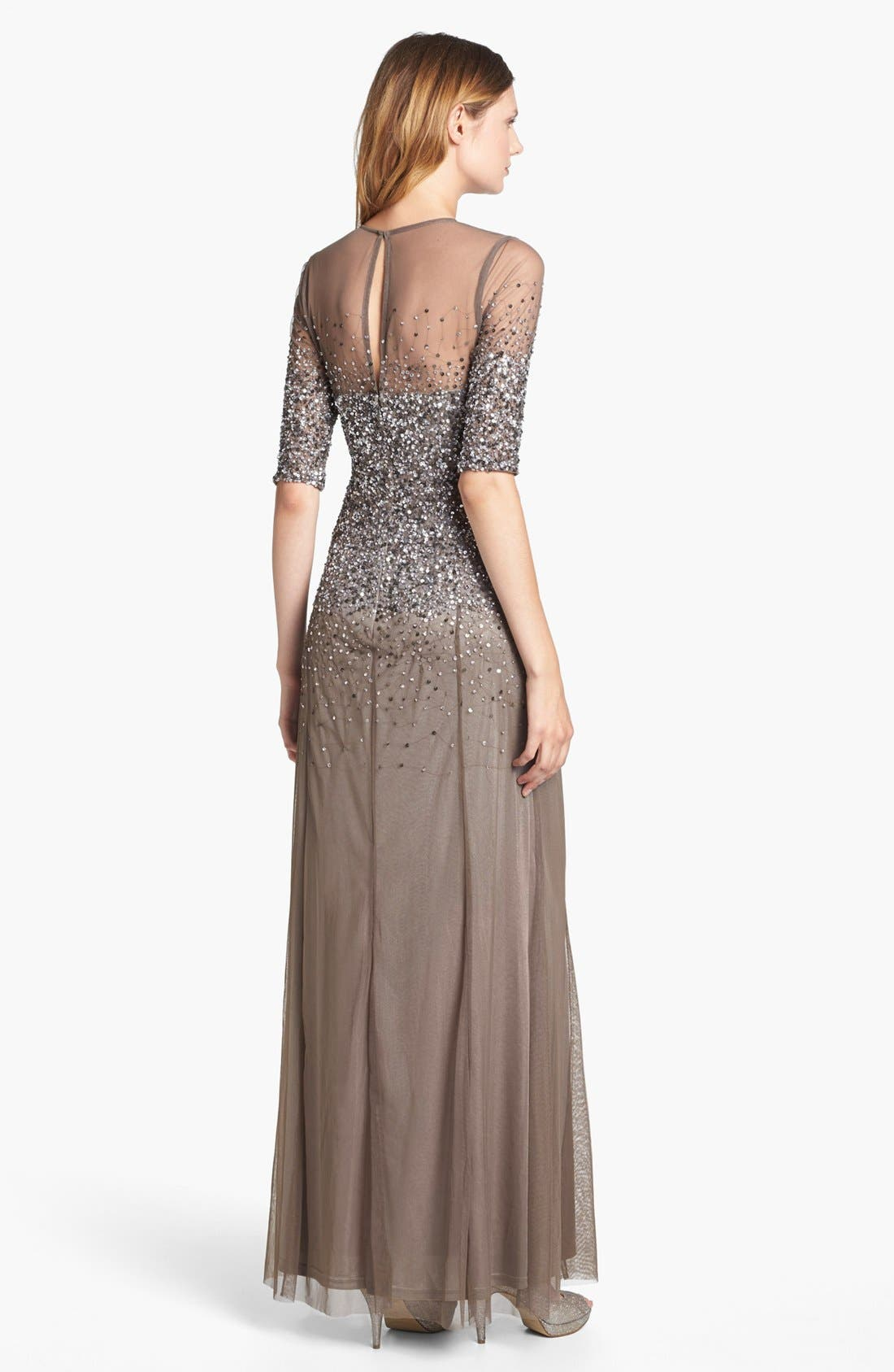 Alternate Image 2  - Adrianna Papell Beaded Illusion Bodice Mesh Gown
