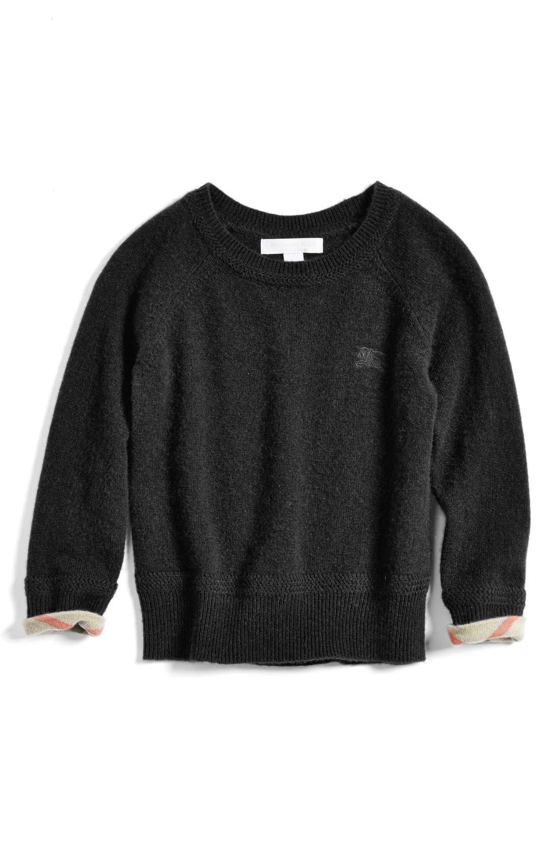 Check Cuff Cashmere Sweater,                         Main,                         color, Black