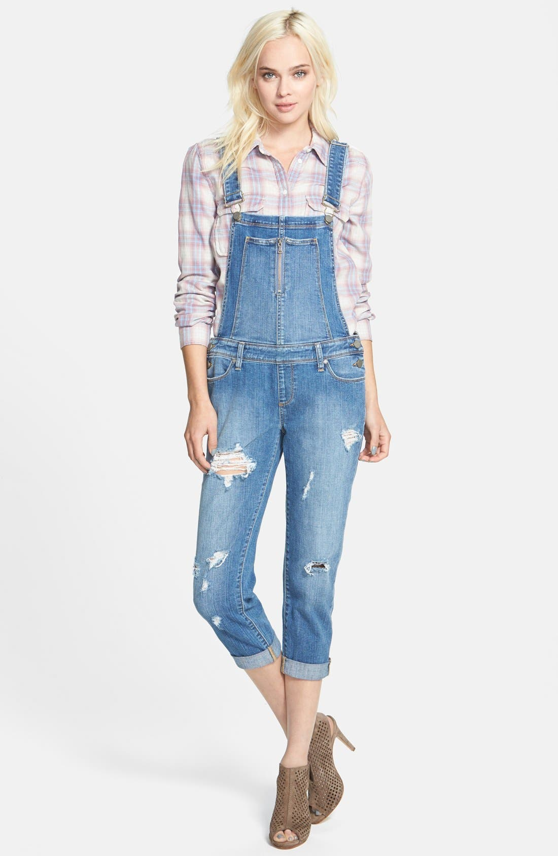 Denim 'Sierra' Distressed Overalls,                             Main thumbnail 1, color,                             Conner Destructed