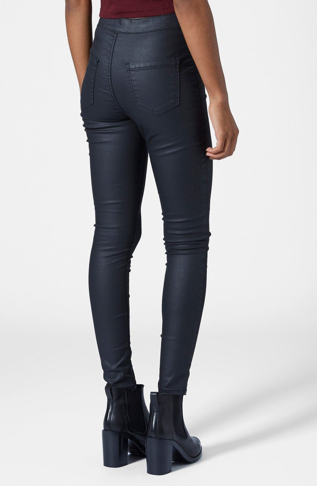 Alternate Image 2  - Topshop Moto 'Joni' Coated Skinny Jeans (Black)