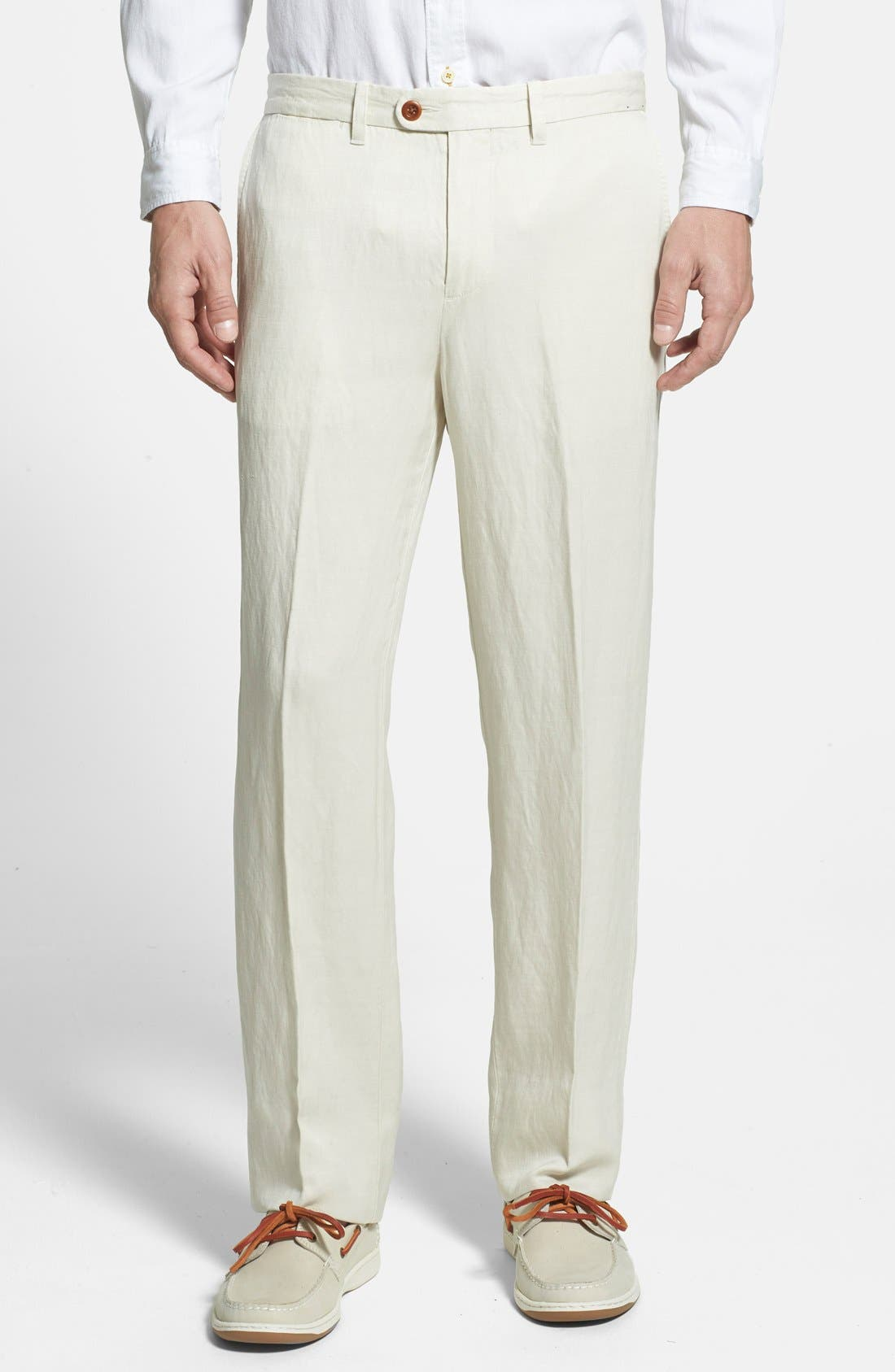 'La Jolla' Flat Front Pants,                             Main thumbnail 1, color,                             Warm Sand Beige