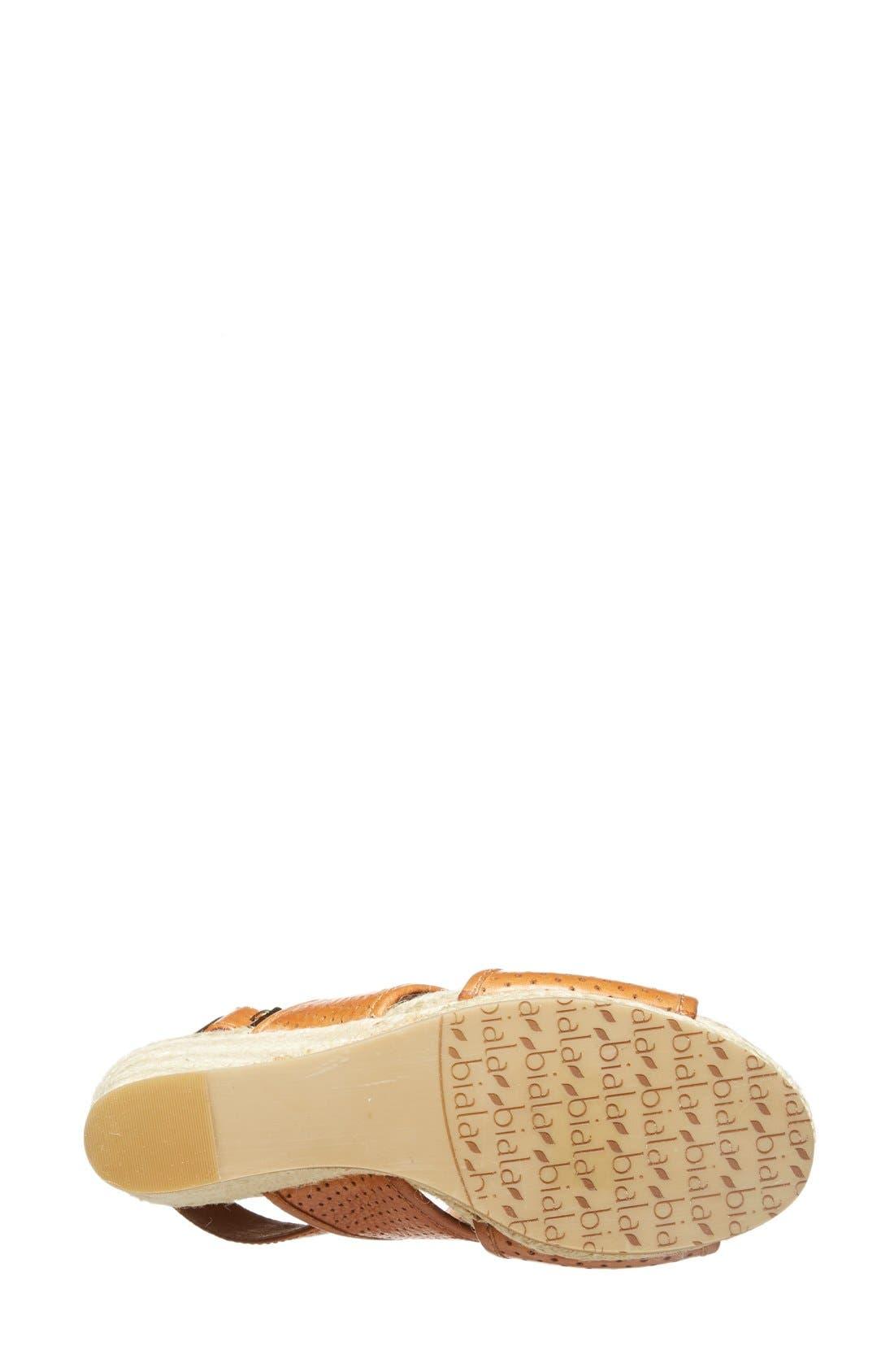 'Joyce' Perforated Espadrille Wedge Sandal,                             Alternate thumbnail 4, color,                             Brown