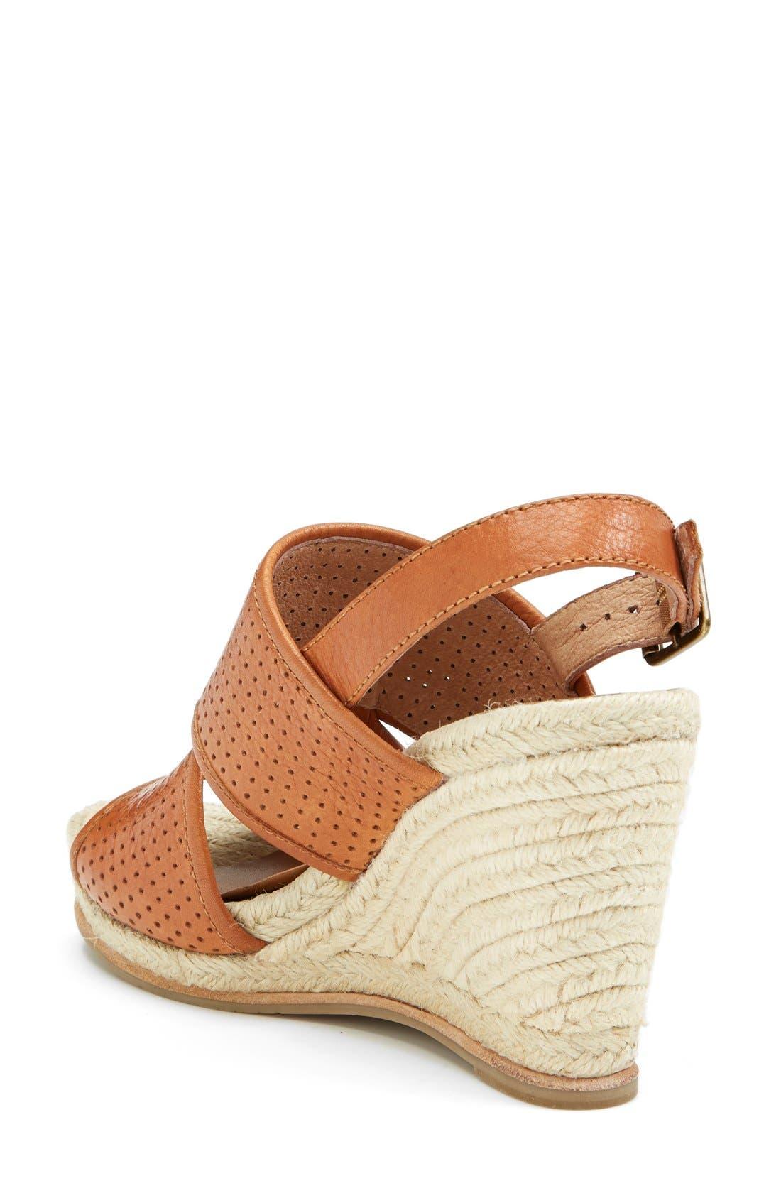 'Joyce' Perforated Espadrille Wedge Sandal,                             Alternate thumbnail 2, color,                             Brown