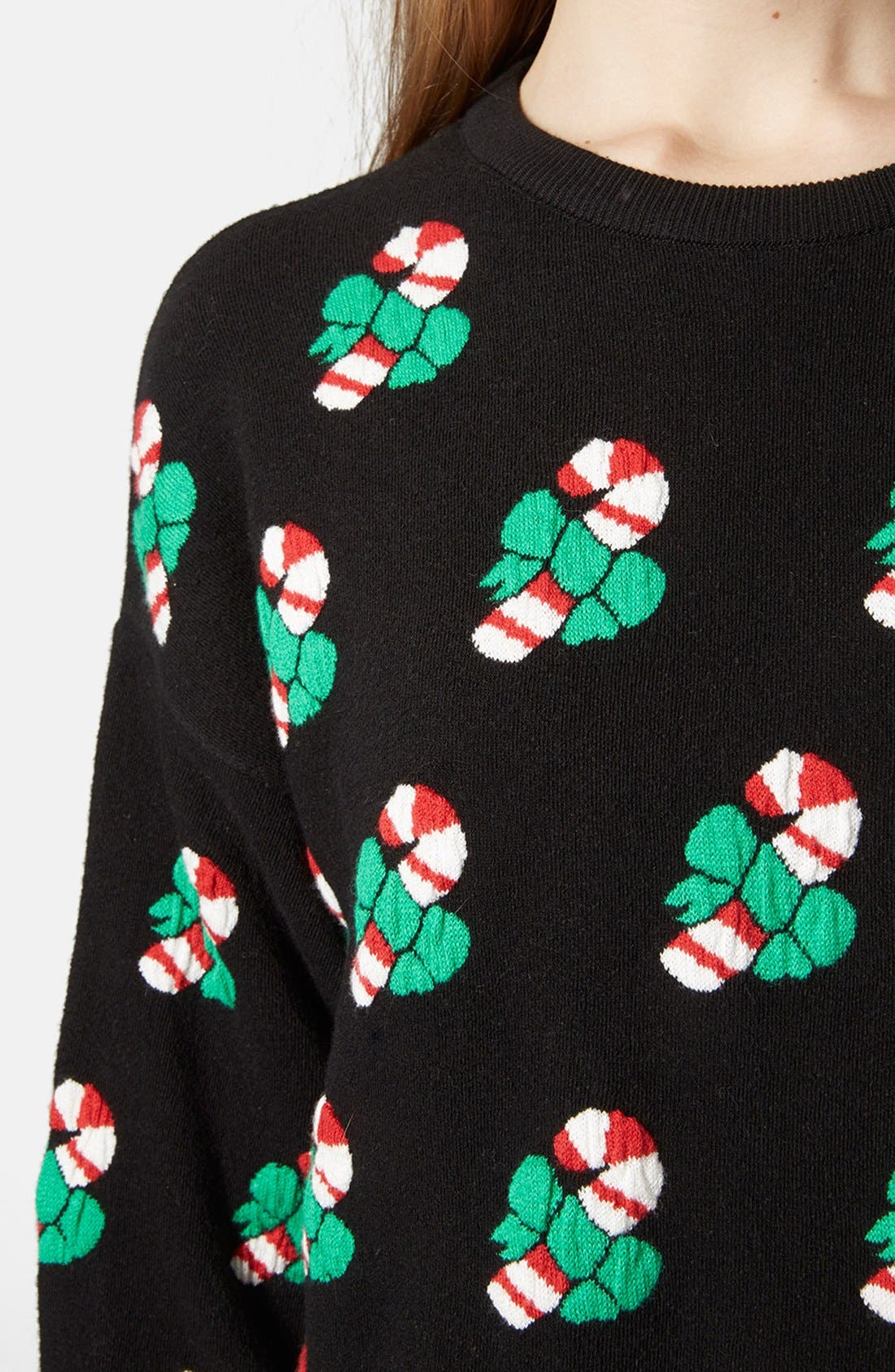 Alternate Image 4  - Topshop Candy Cane Sweater