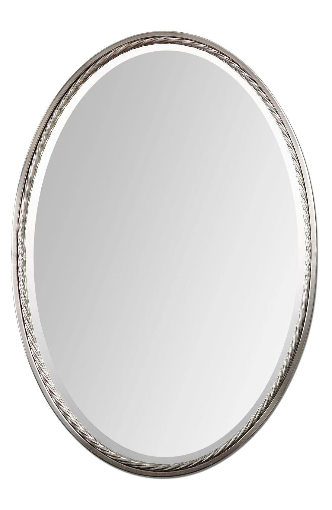 'Casalina' Oval Mirror,                         Main,                         color, Brushed Nickel