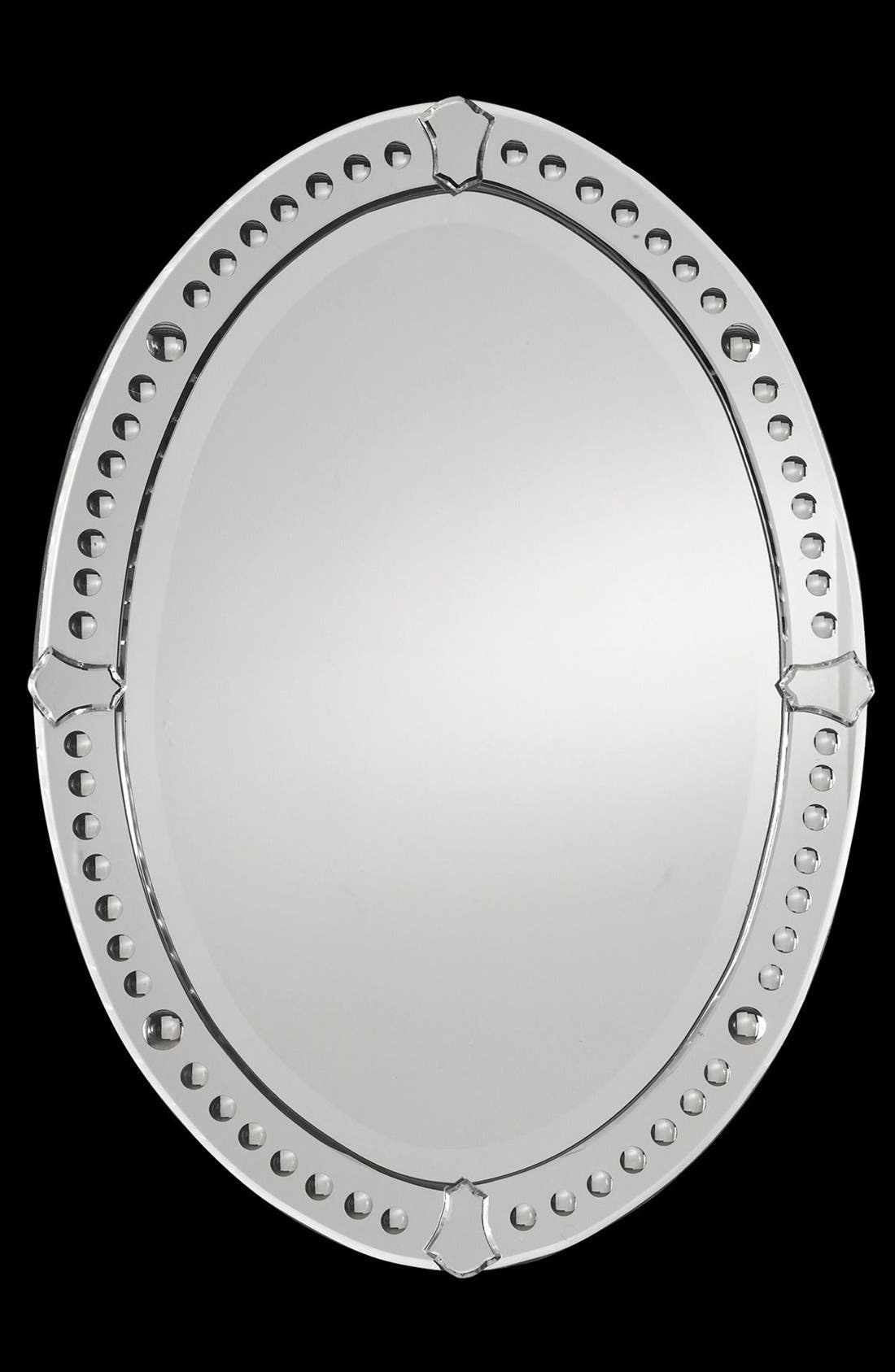 'Graziano' Frameless Oval Mirror,                             Alternate thumbnail 3, color,                             Brown