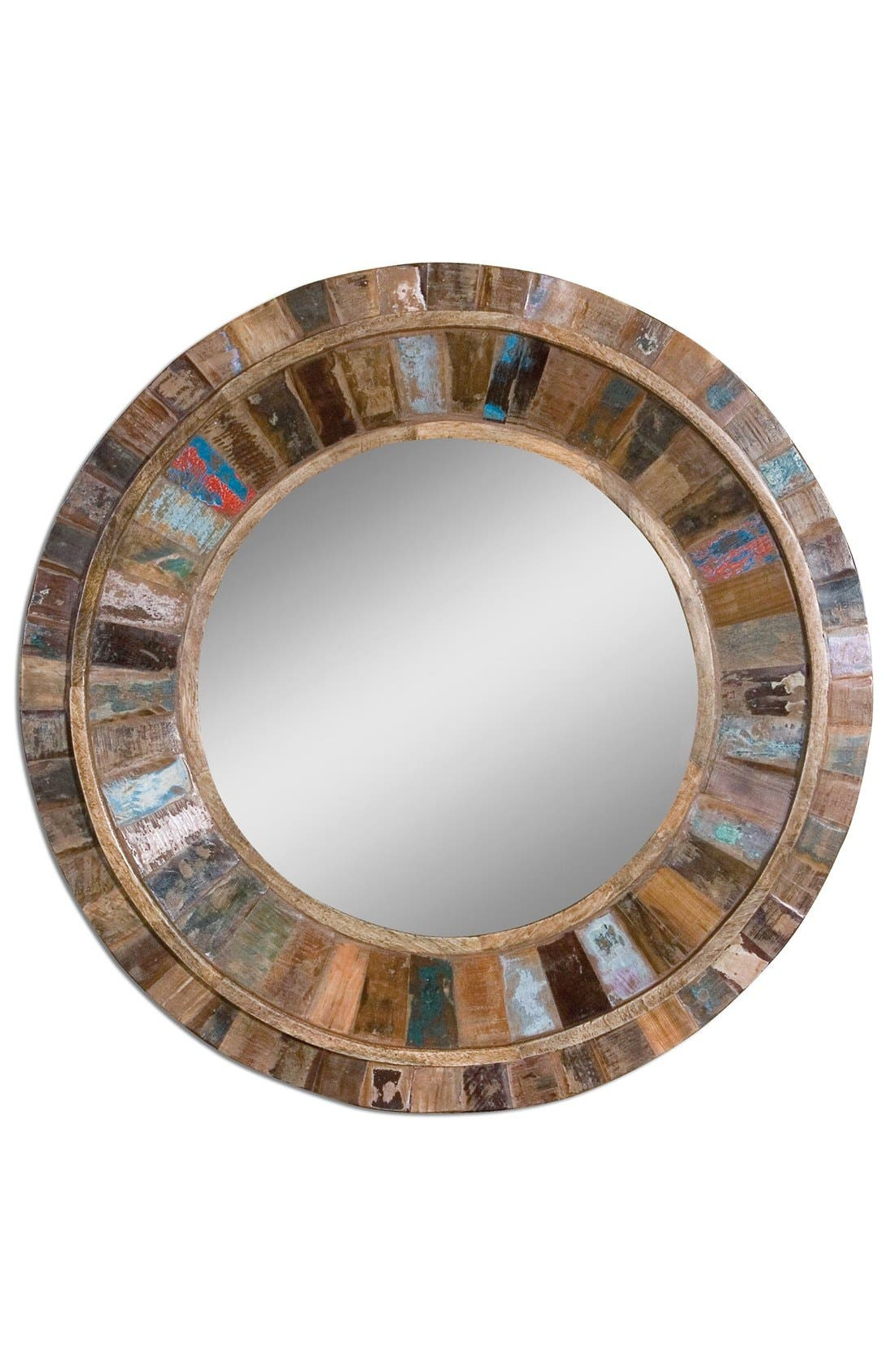 'Jeremiah' Round Wooden Wall Mirror,                         Main,                         color, Brown