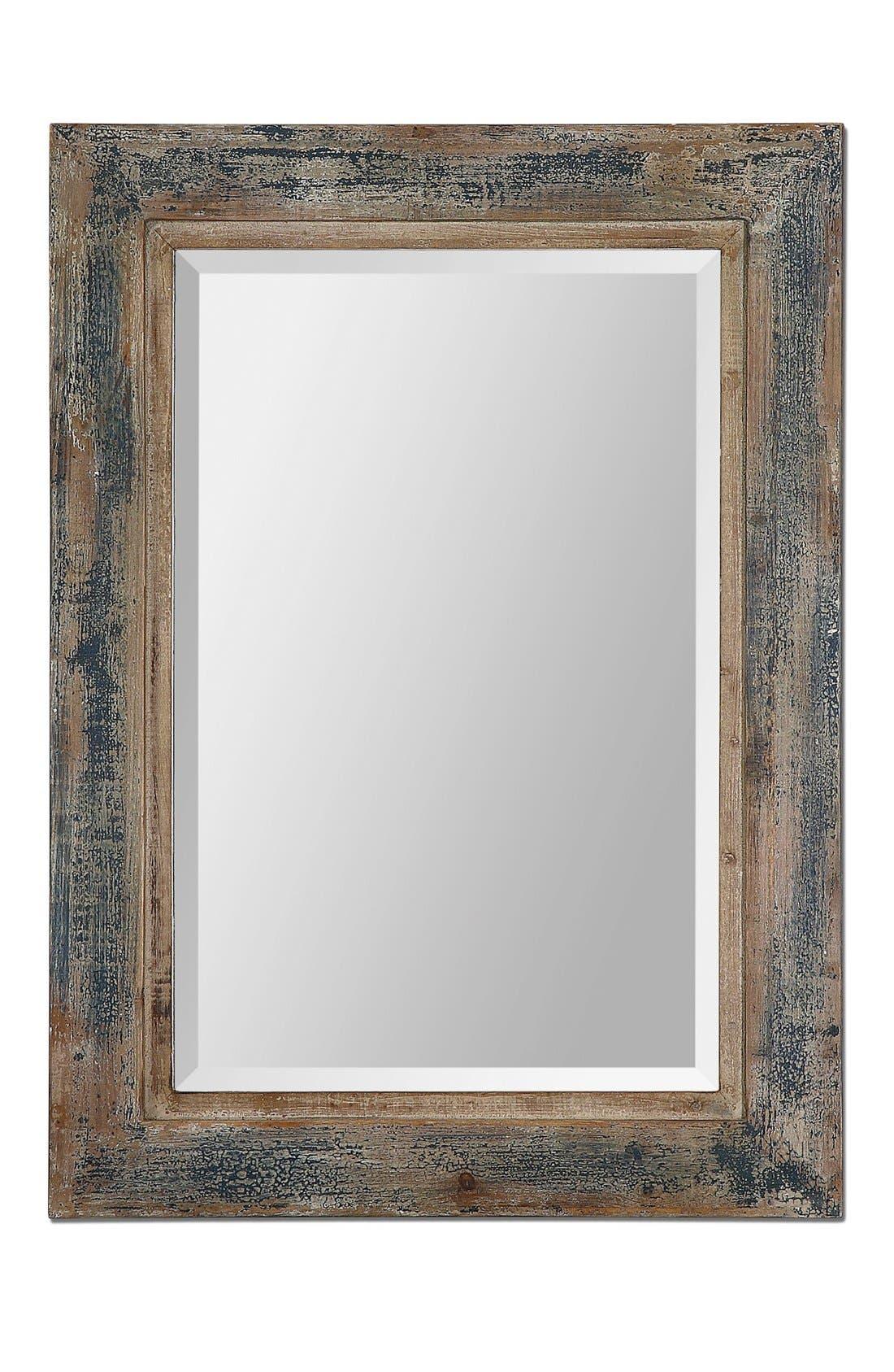 'Bozeman' Distressed Wooden Mirror,                         Main,                         color, Blue