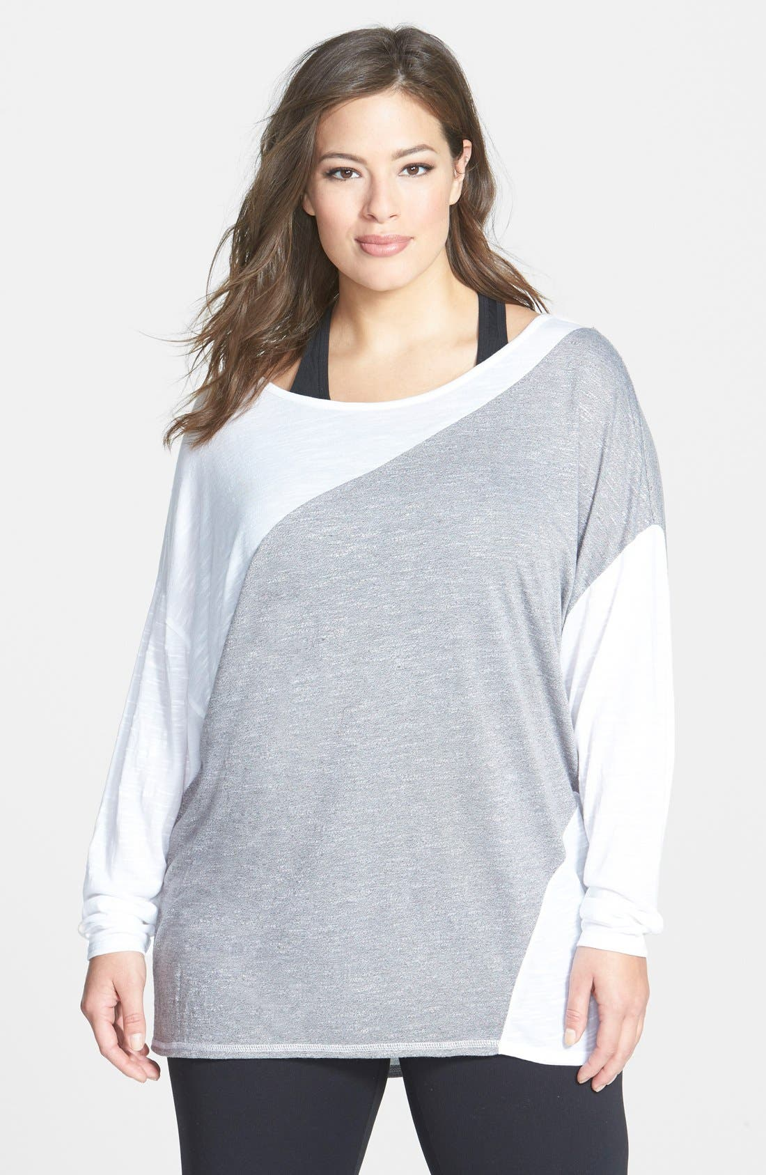 Main Image - Zella 'First Place' Colorblock Pullover (Plus Size)