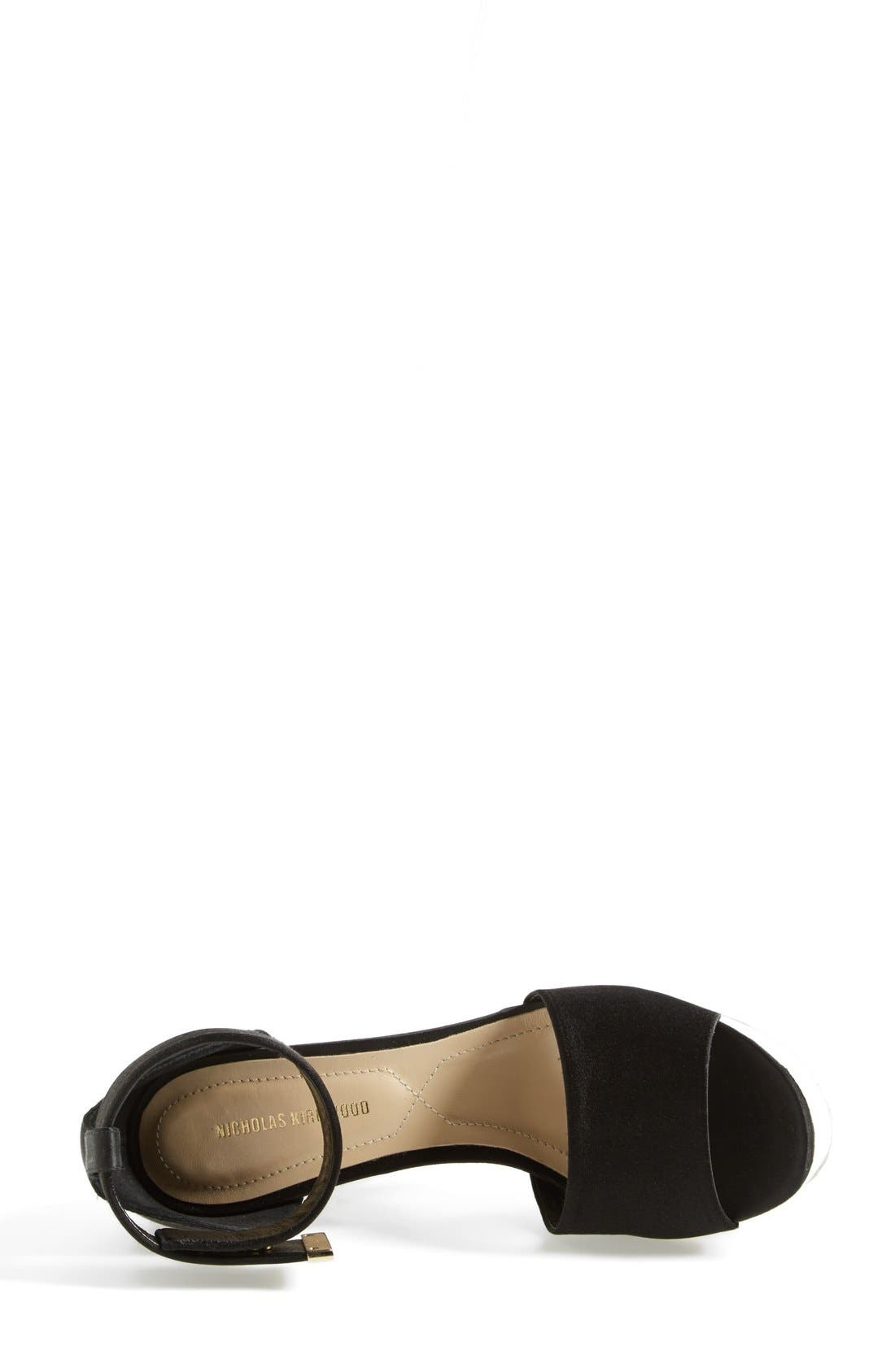 'Pearl' Platform Ankle Strap Sandal,                             Alternate thumbnail 3, color,                             Black