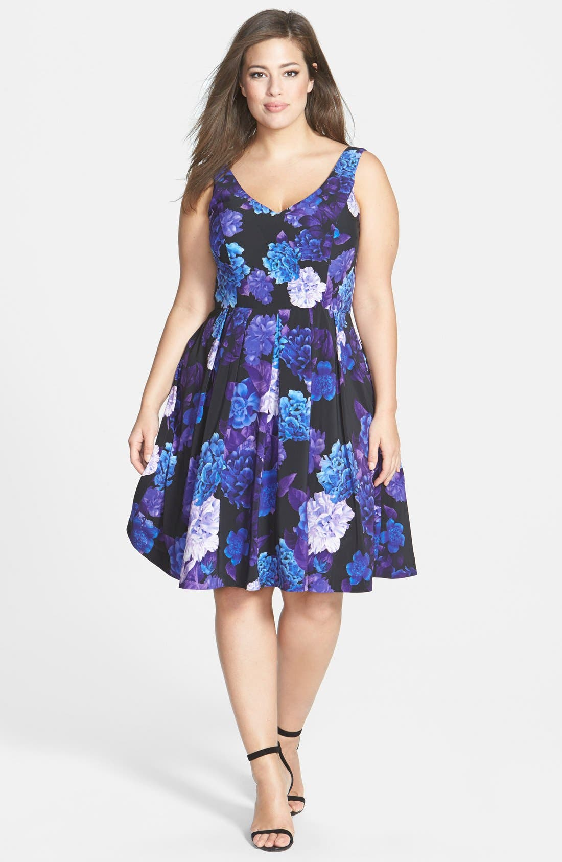 Alternate Image 4  - City Chic Hydrangea Print Dress (Plus Size)