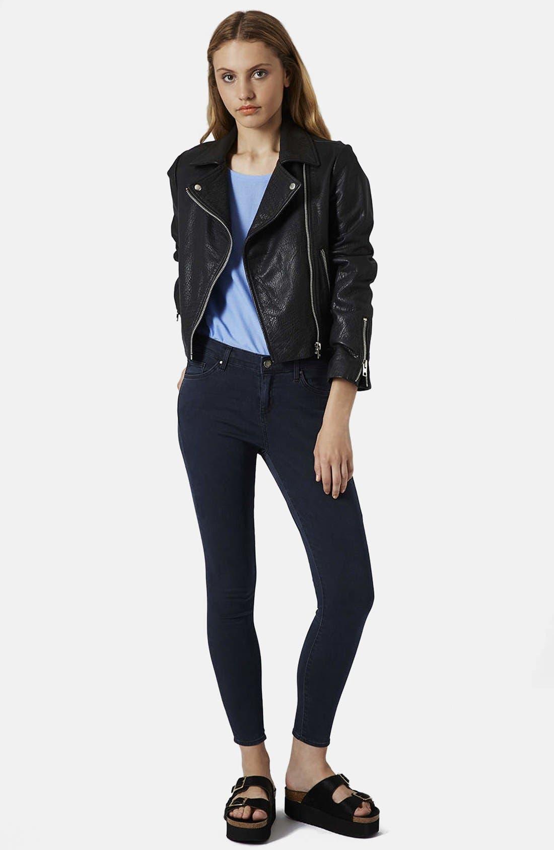 Alternate Image 5  - Topshop Moto 'Leigh' Crop Skinny Jeans (Blue Black) (Regular, Short & Long)