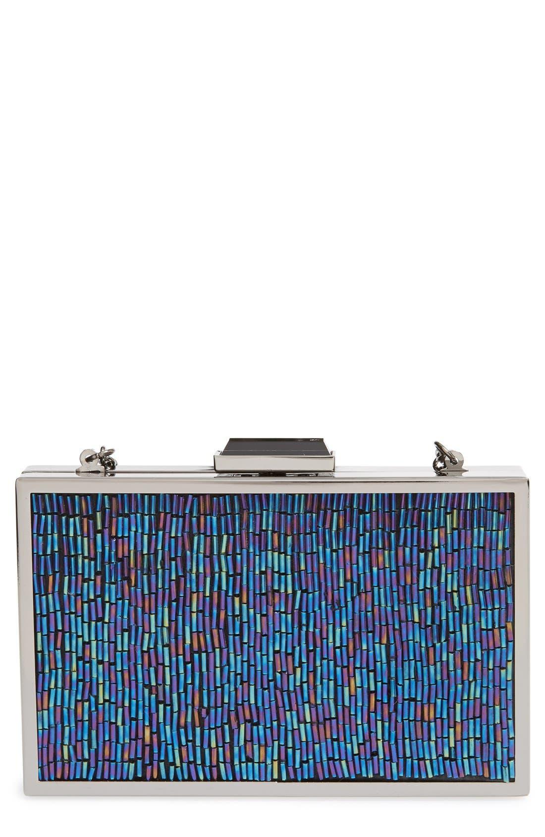 Main Image - Jessica McClintock 'Oilspill' Beaded Box Clutch