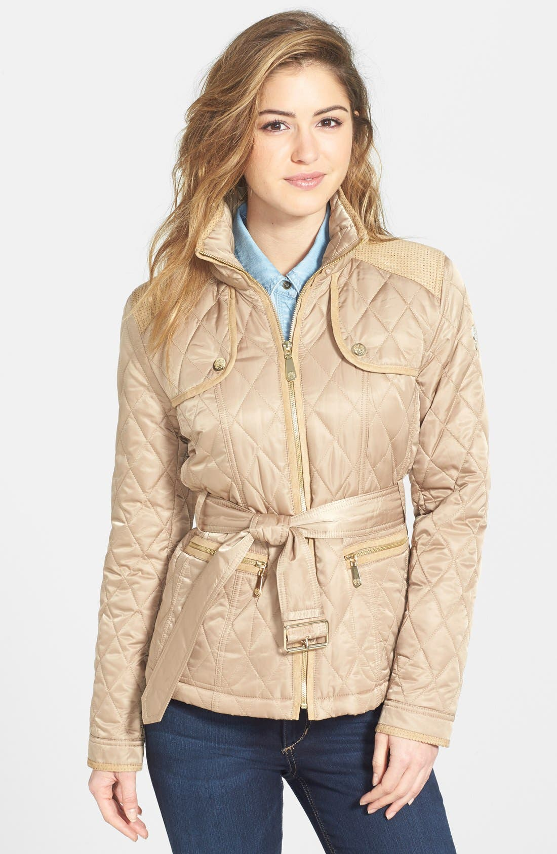 Main Image - Vince Camuto Faux Suede Trim Belted Quilted Jacket
