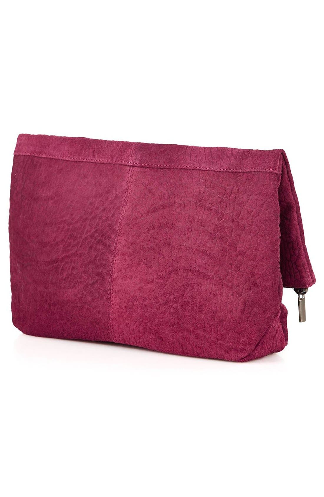 Alternate Image 4  - Topshop Snakeskin Embossed Suede Clutch