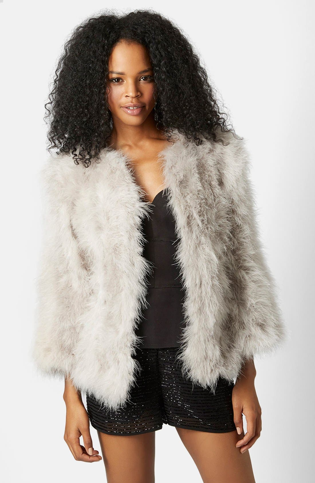 Main Image - Topshop 'Vanessa' Boxy Marabou Coat
