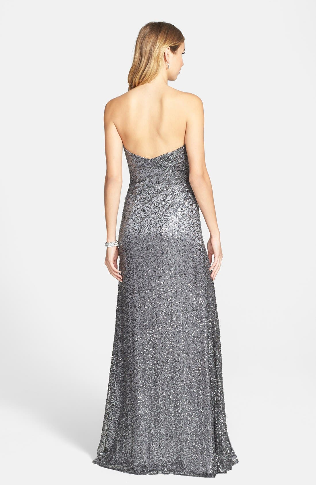 Alternate Image 2  - La Femme Strapless Sequin Gown