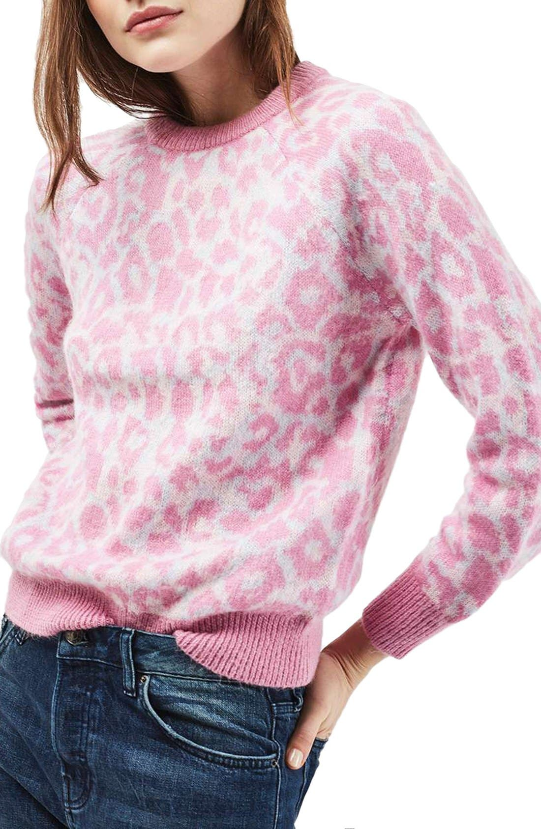 Topshop Fuzzy Leopard Sweater | Nordstrom