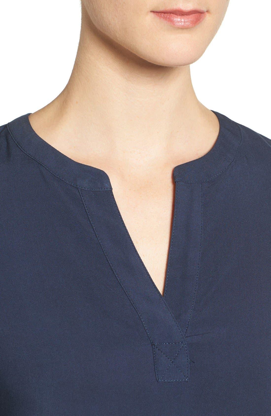 Alternate Image 4  - Pleione Split Neck Roll Sleeve Tunic (Regular & Petite)
