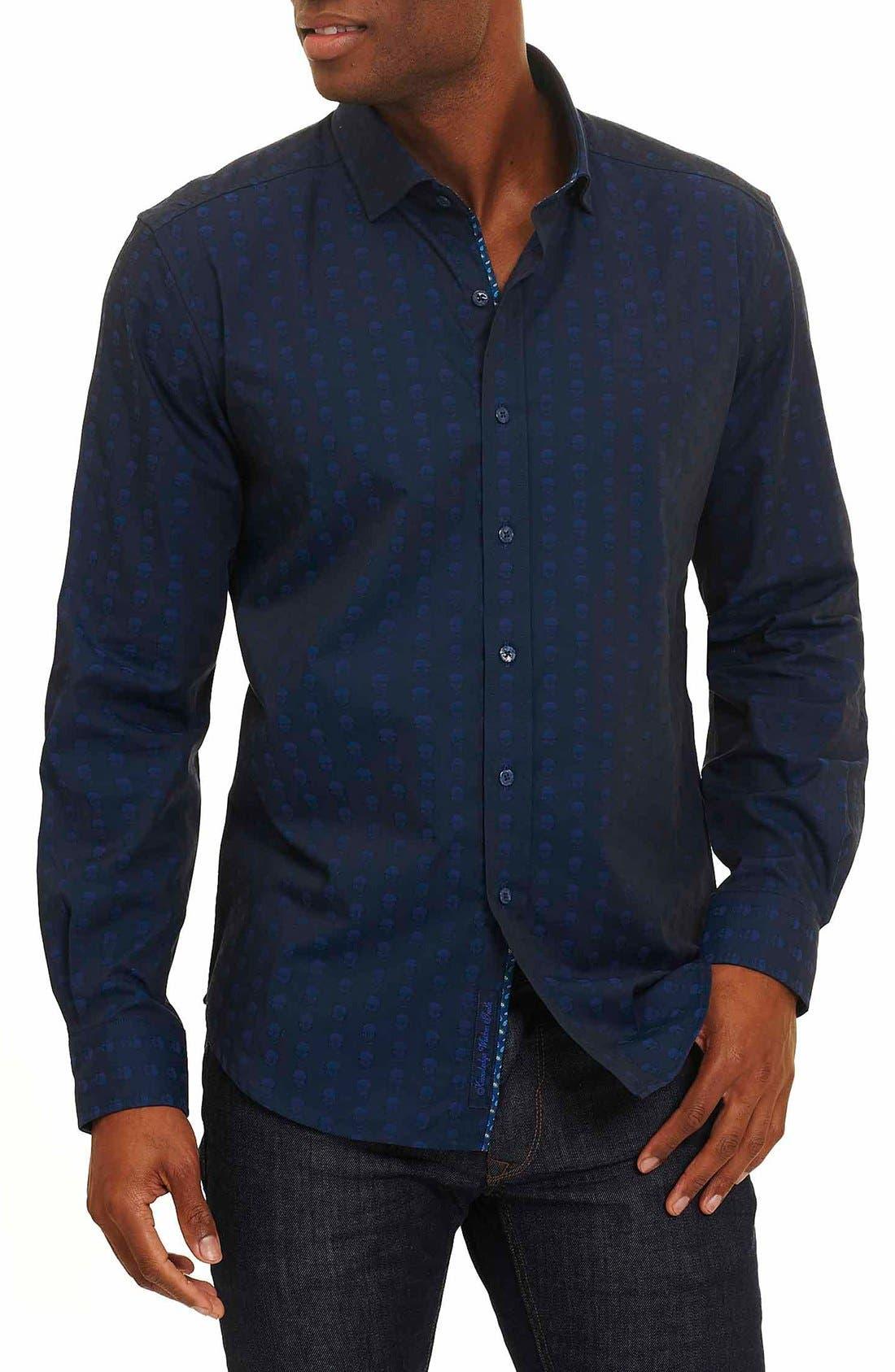 Deven Tailored Fit Sport Shirt,                         Main,                         color, Navy