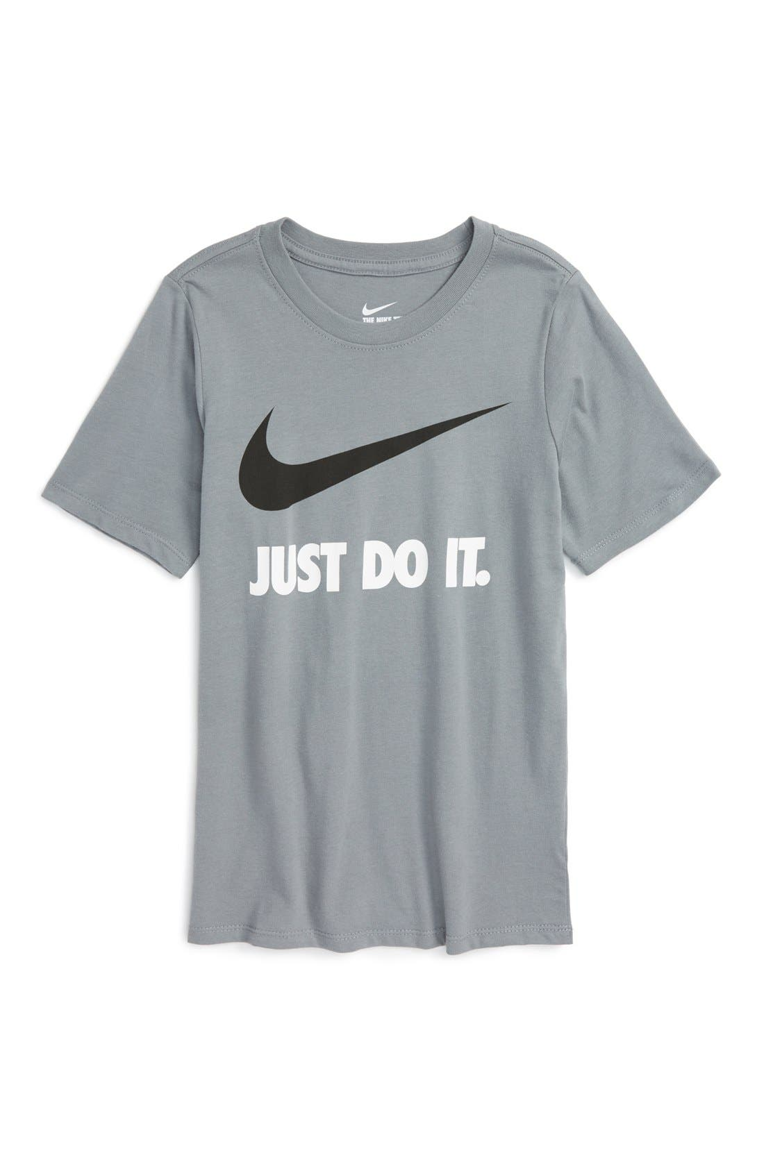 Just Do It Cotton T-Shirt,                         Main,                         color, Cool Grey/ Cool Grey/ Black