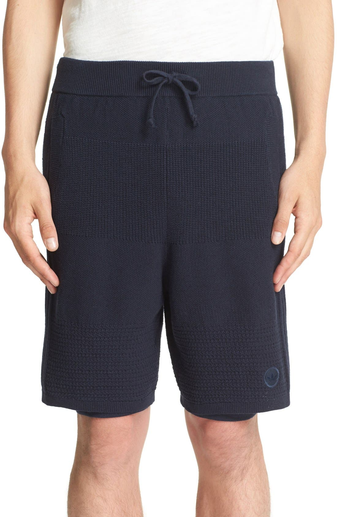 Linear Texture Knit Shorts,                             Main thumbnail 1, color,                             Night Navy